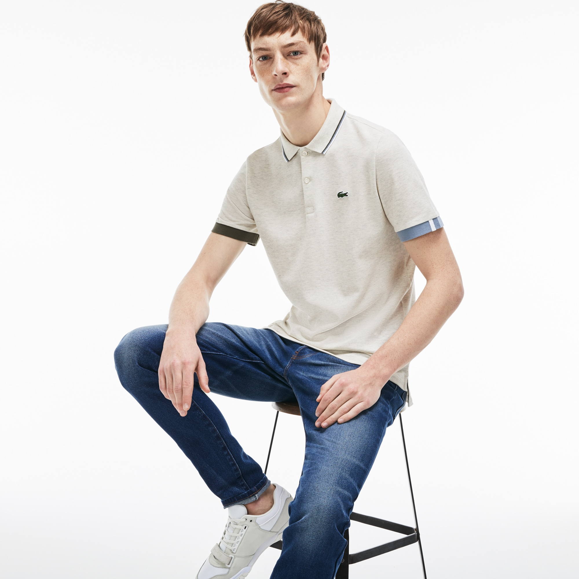Men's Lacoste LIVE Slim Fit Piped Neck Petit Piqué Polo