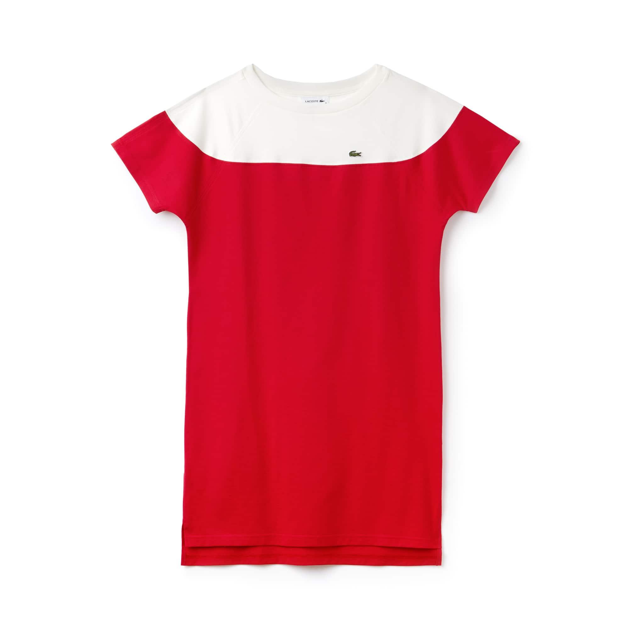 Vestido camiseta con cuello barco de punto jersey de algodón color block