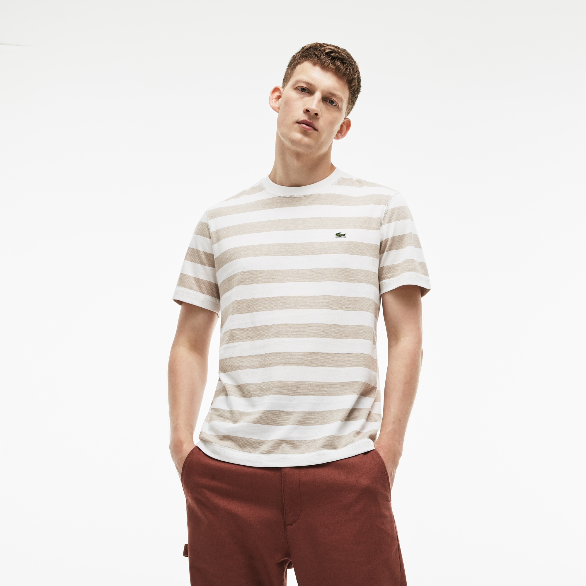 Camiseta Con Cuello Redondo De Punto De Algodón De Rayas