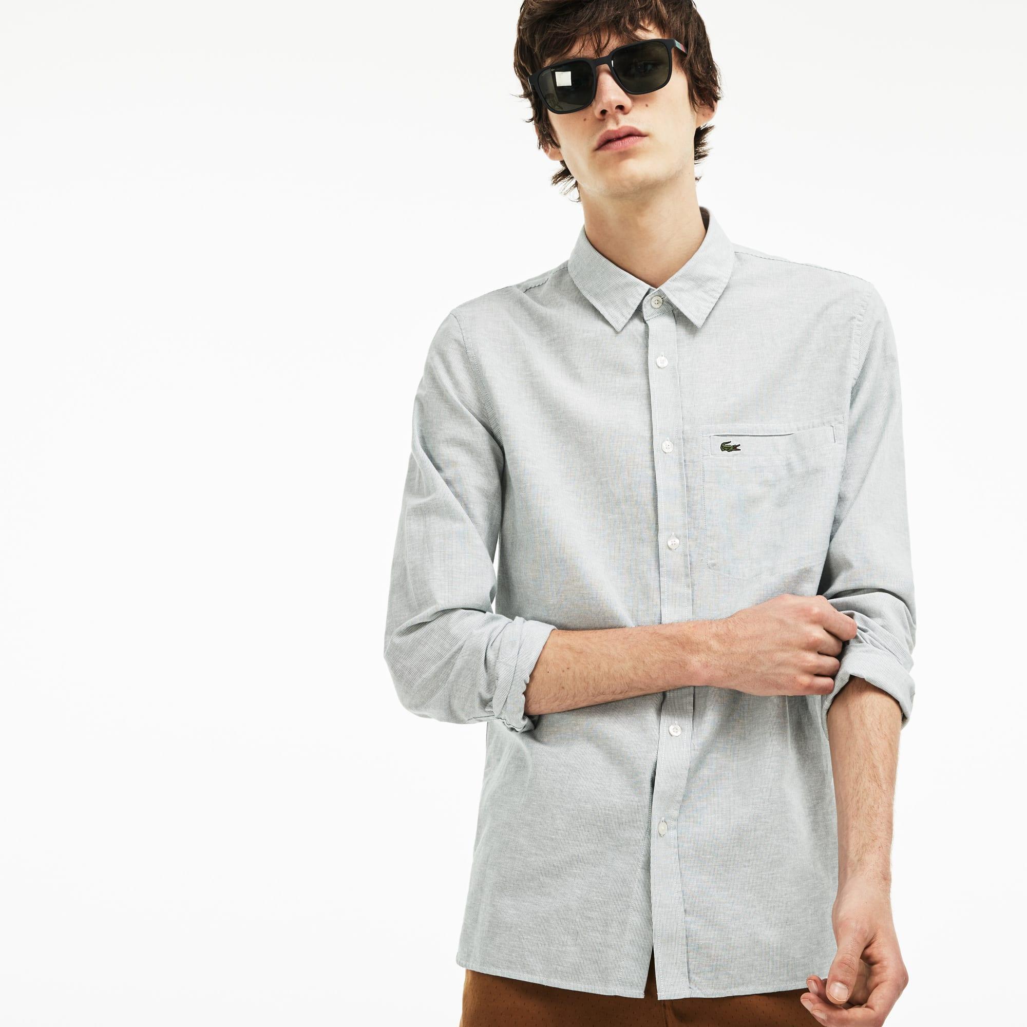 Camisa Hombre Popelín De Algodón Y Lino De Rayas