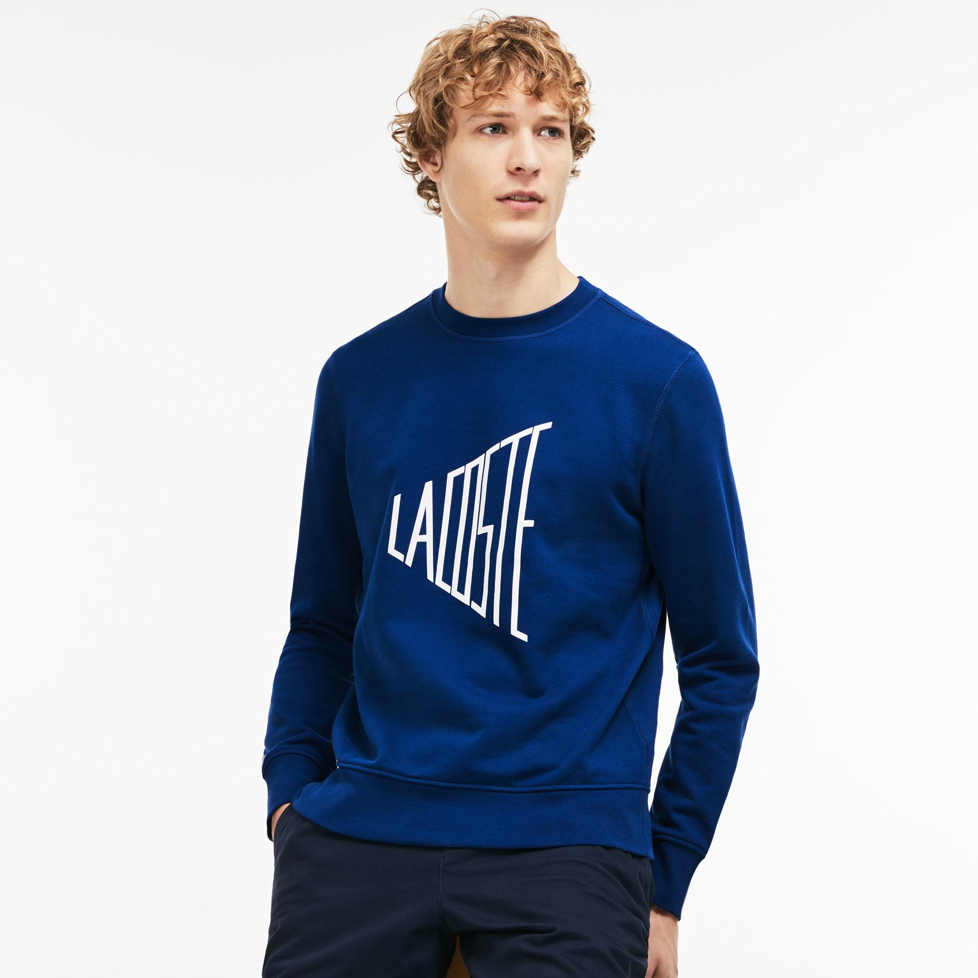 Men's Crew Neck Lacoste Lettering Fleece Sweatshirt