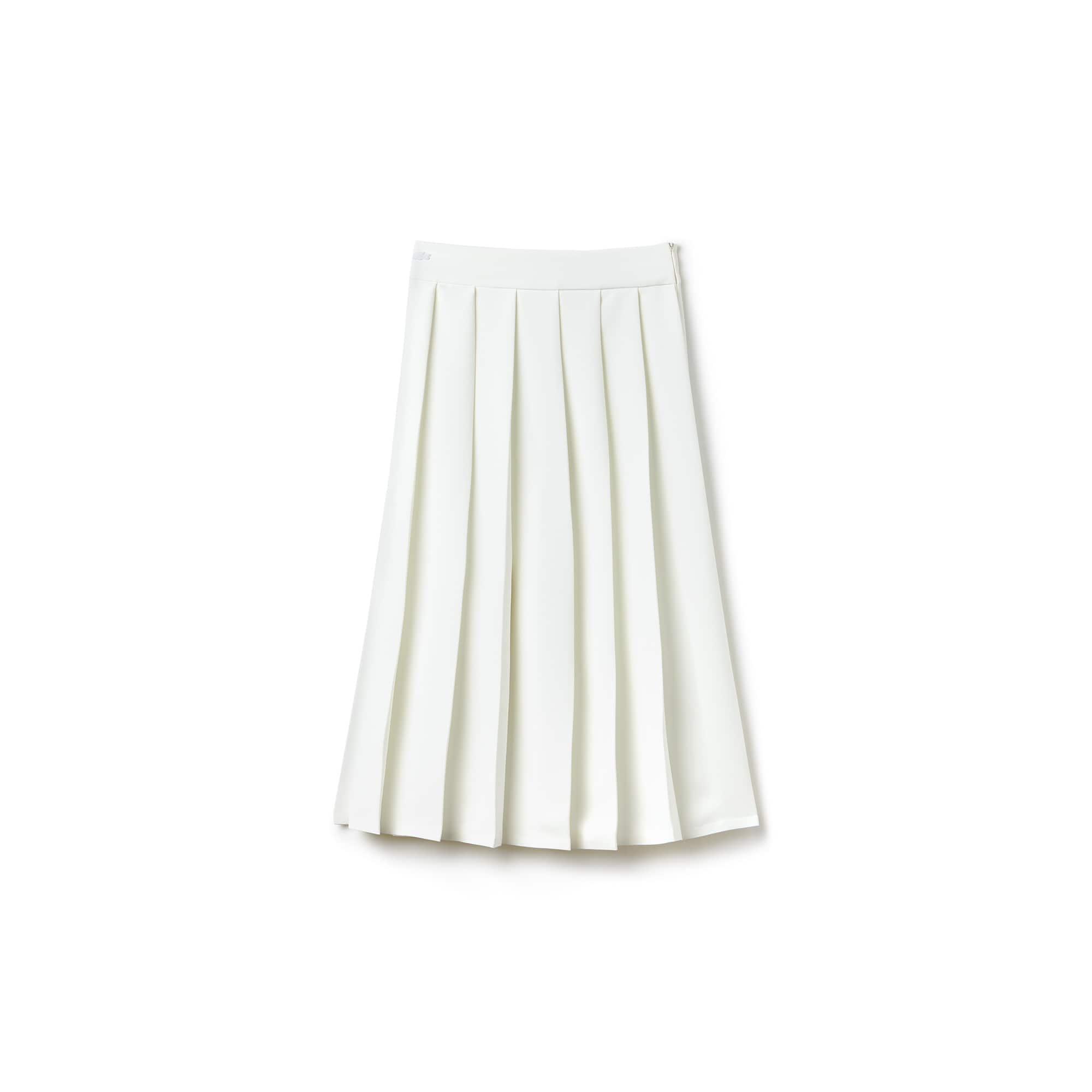 Falda larga plisada de crepé muselina liso