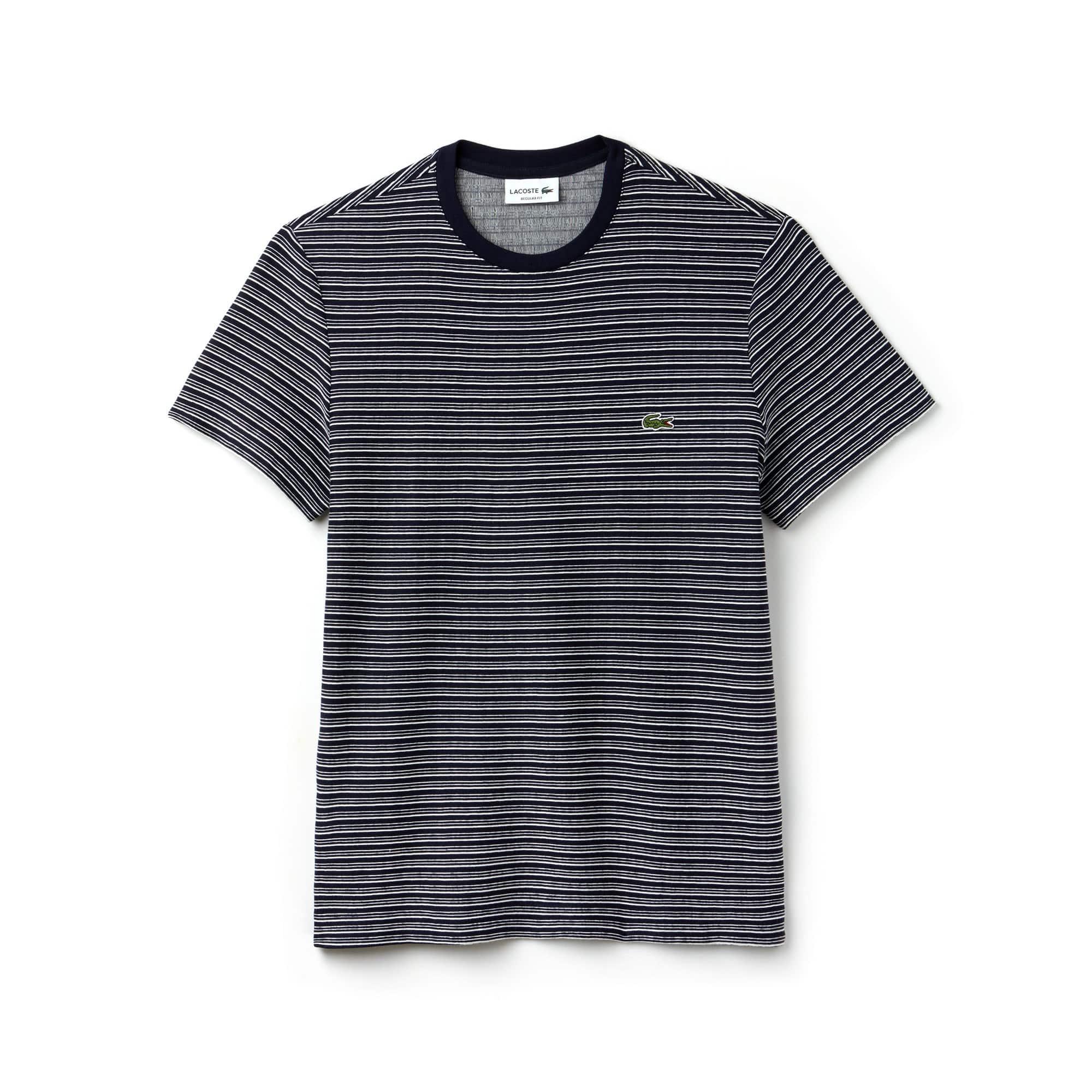 Camiseta con cuello redondo de punto de algodón flameado a rayas