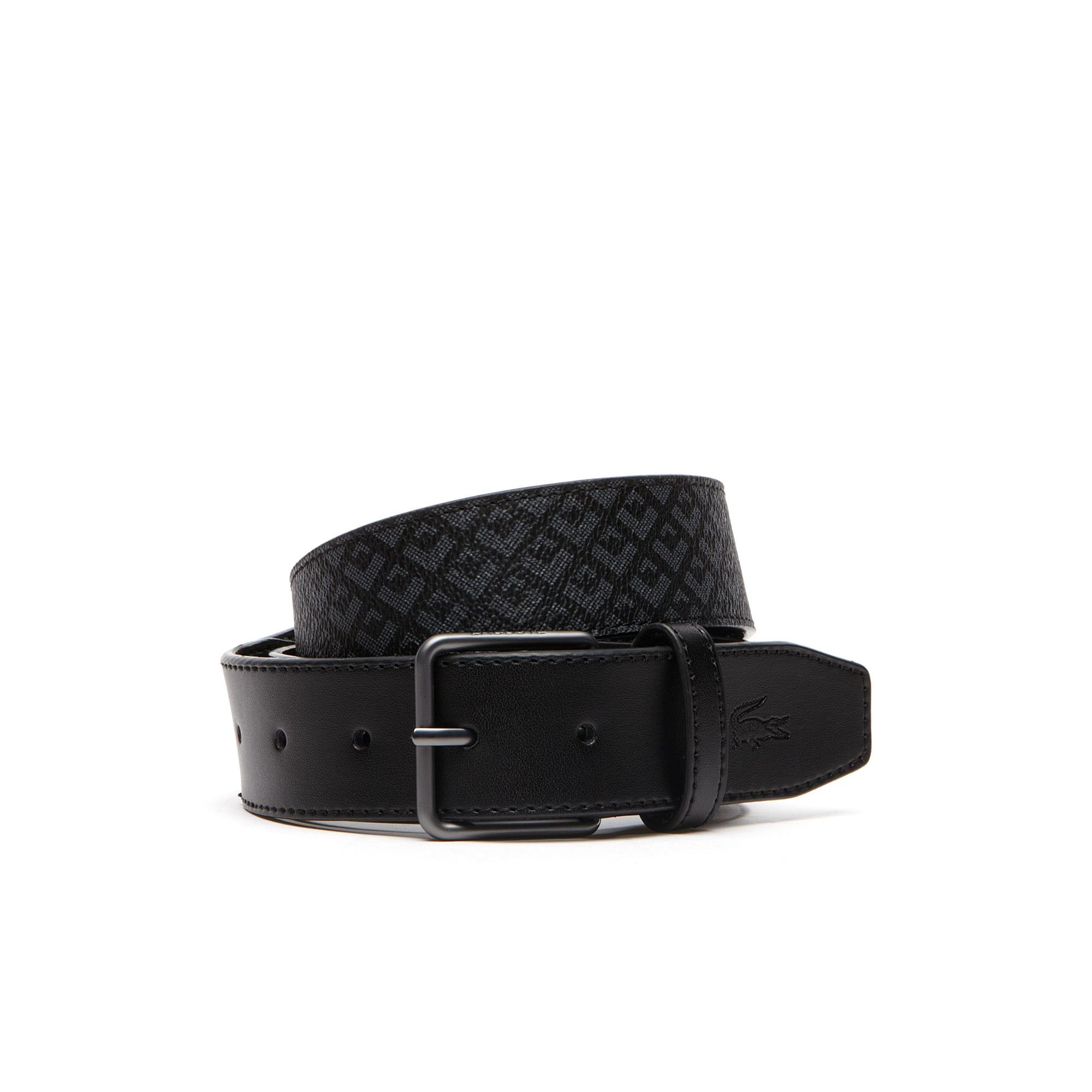 Edward Signature silk screened belt with leather tab