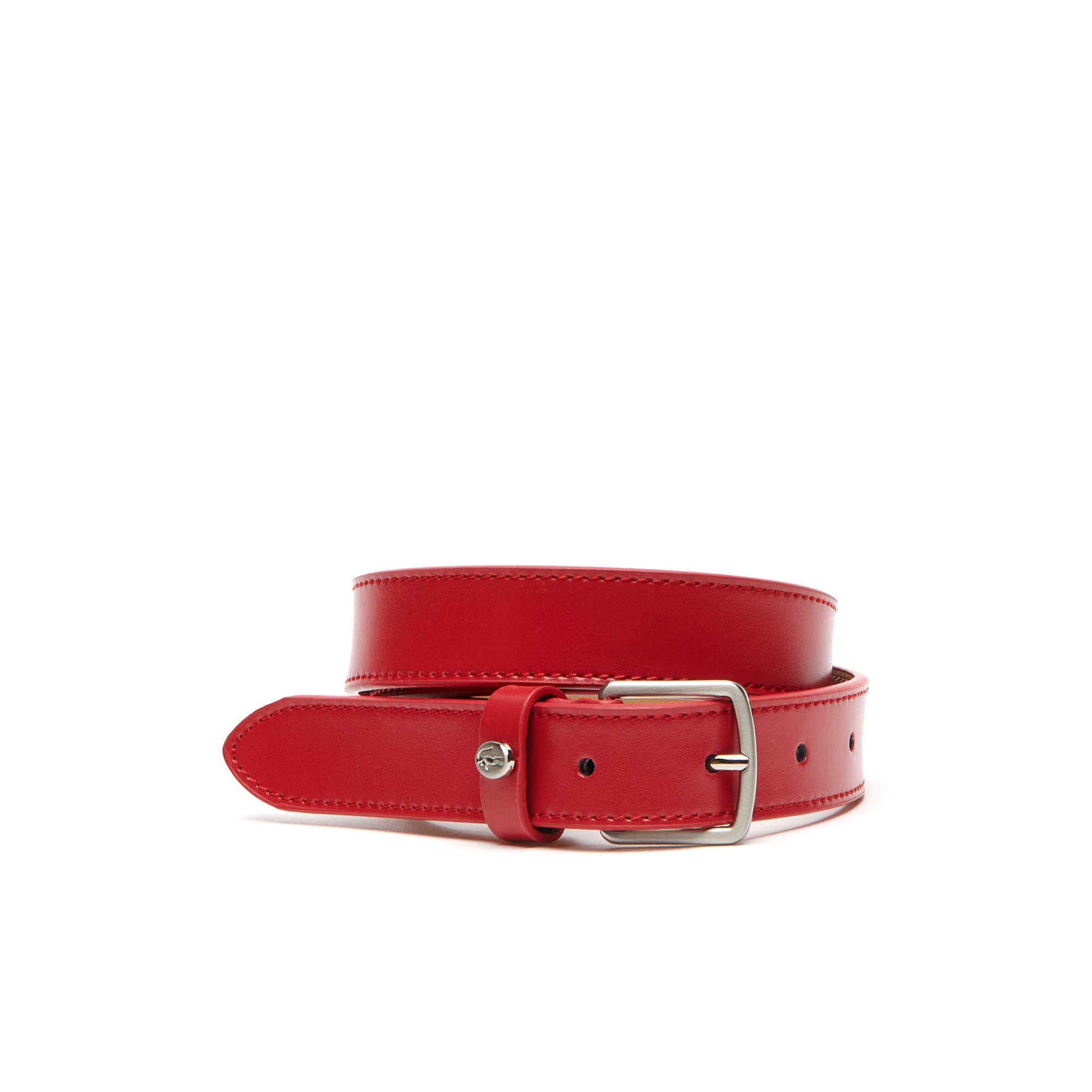 Belt in smooth leather with tongue buckle and crocodile rivet