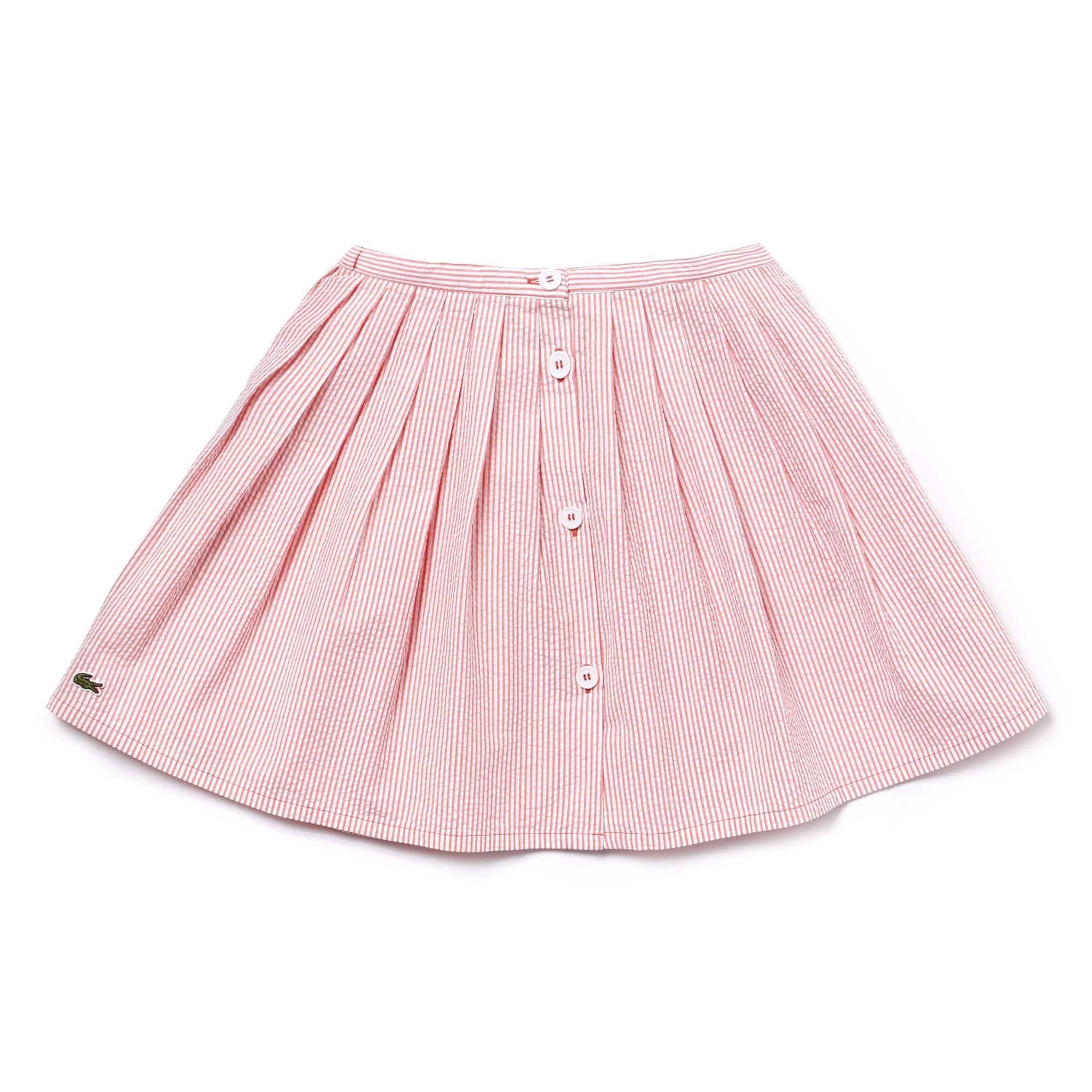 Falda plisada de chica en seersucker de algodón