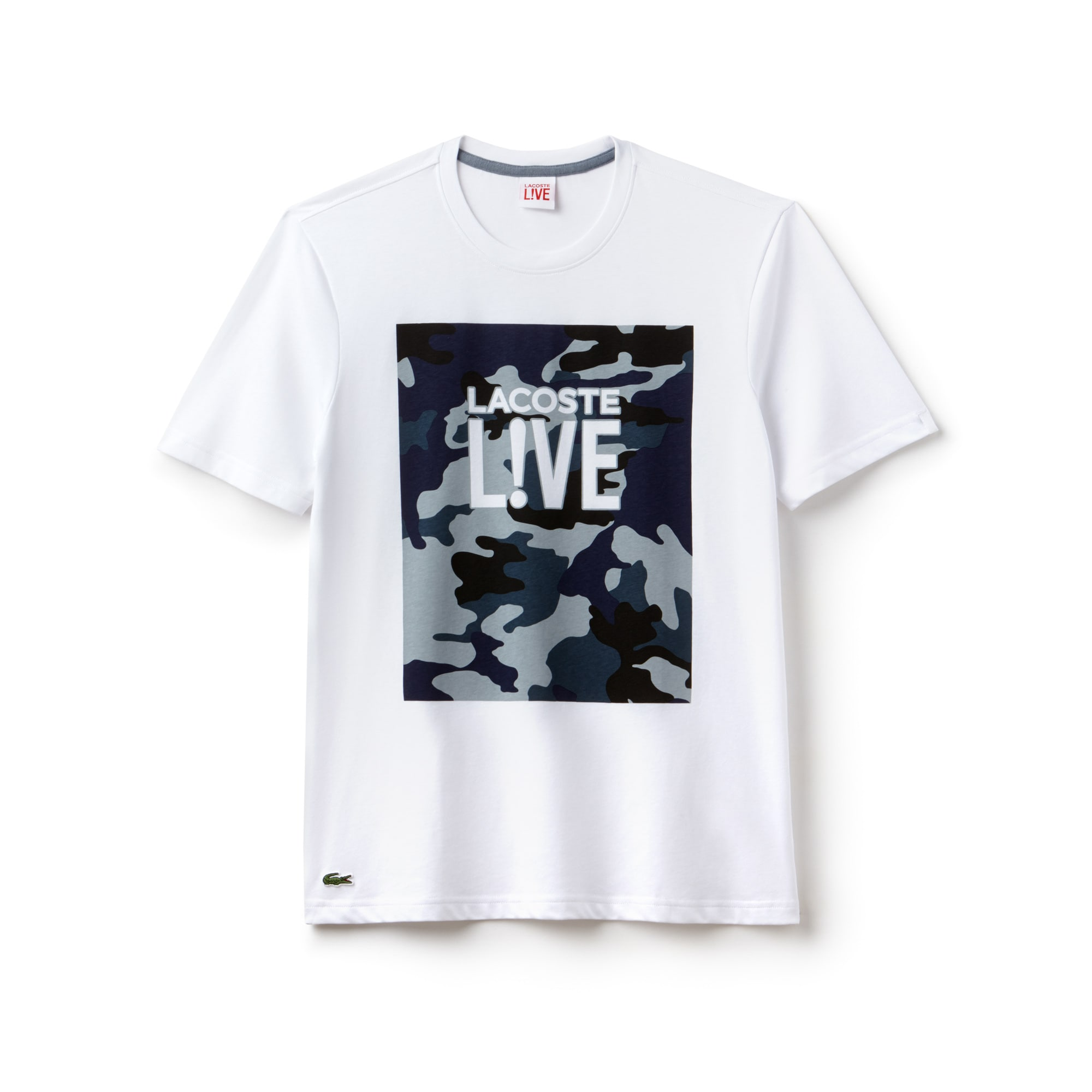 Camiseta de cuello redondo Lacoste LIVE de punto jersey con marcado estampado