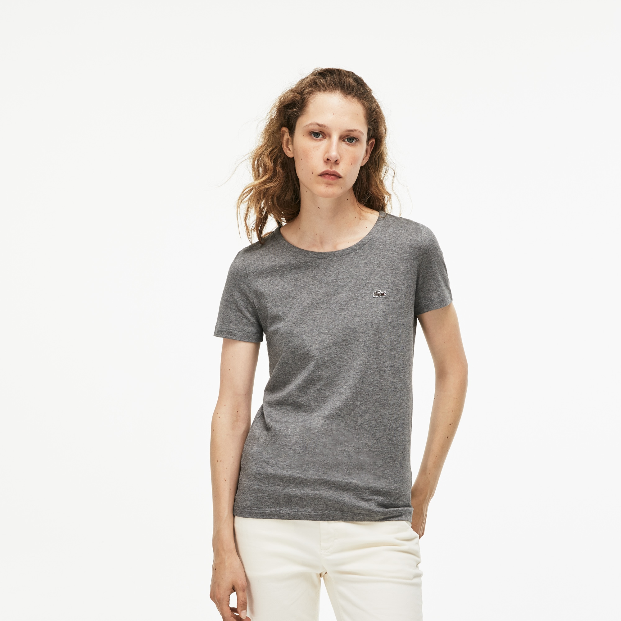 Camiseta De Cuello Redondo De Punto De Algodón Fluido Liso