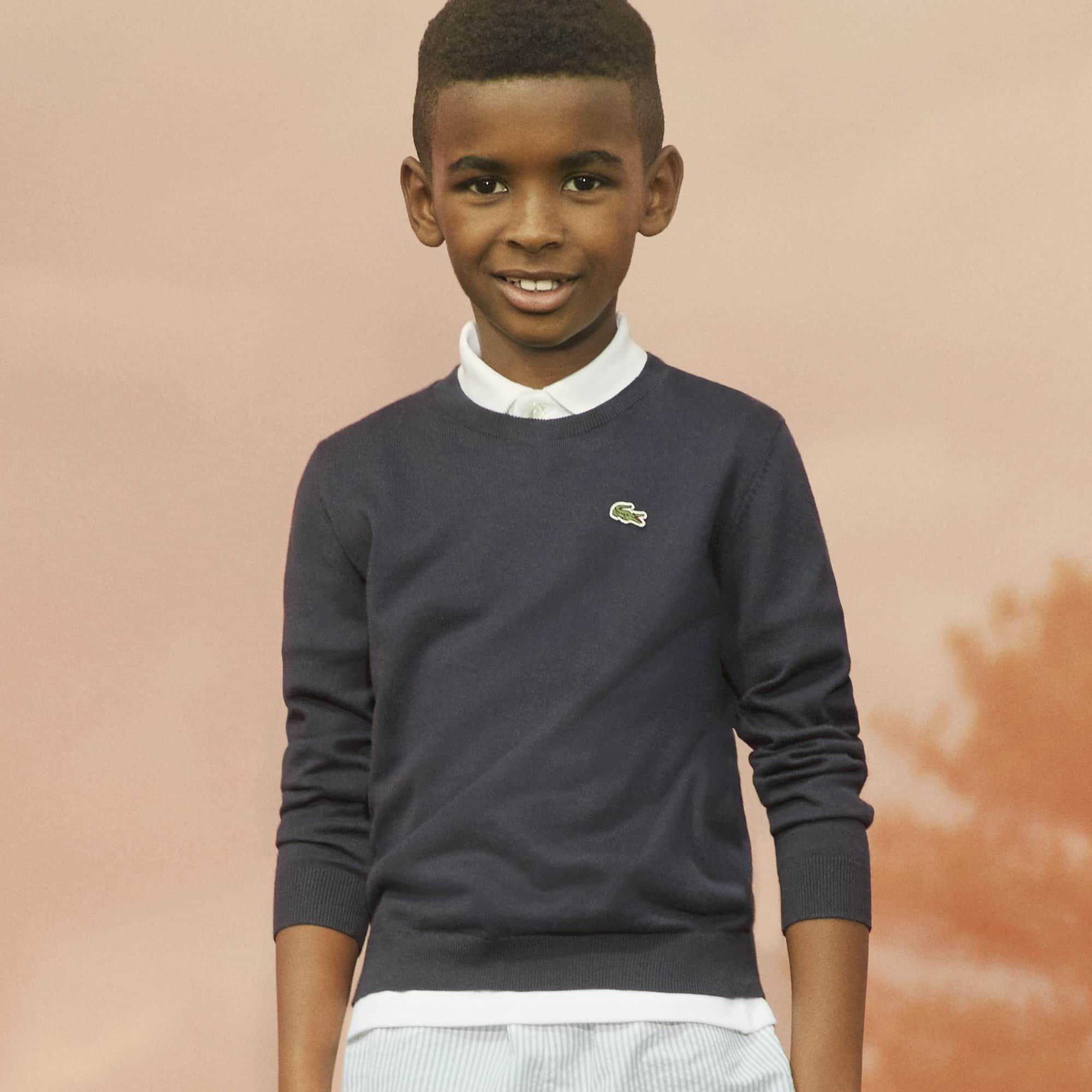 Jersey de niño de cuello redondo de algodón liso
