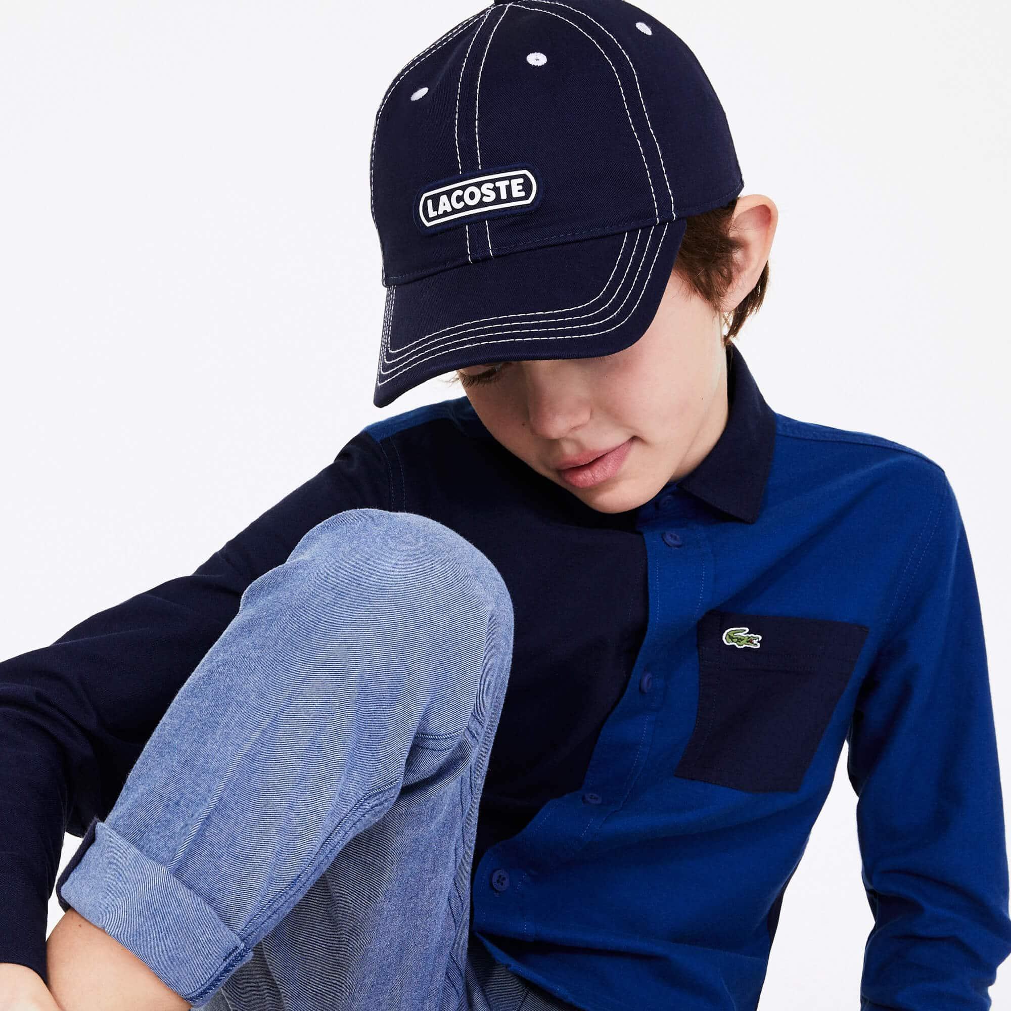 Gorra de niño Lacoste de algodón con insignia