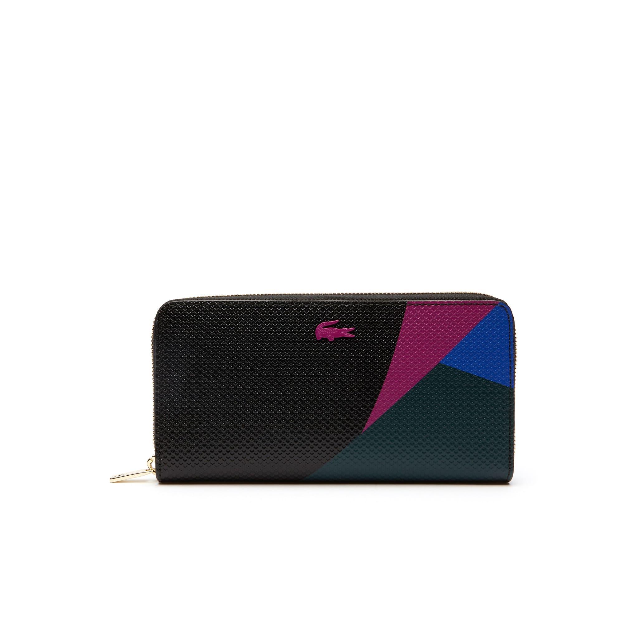 Billetera De Mujer Chantaco En Piel Con Estampado Color Block, Cremallera Y Doce Ranuras Para Tarjetas