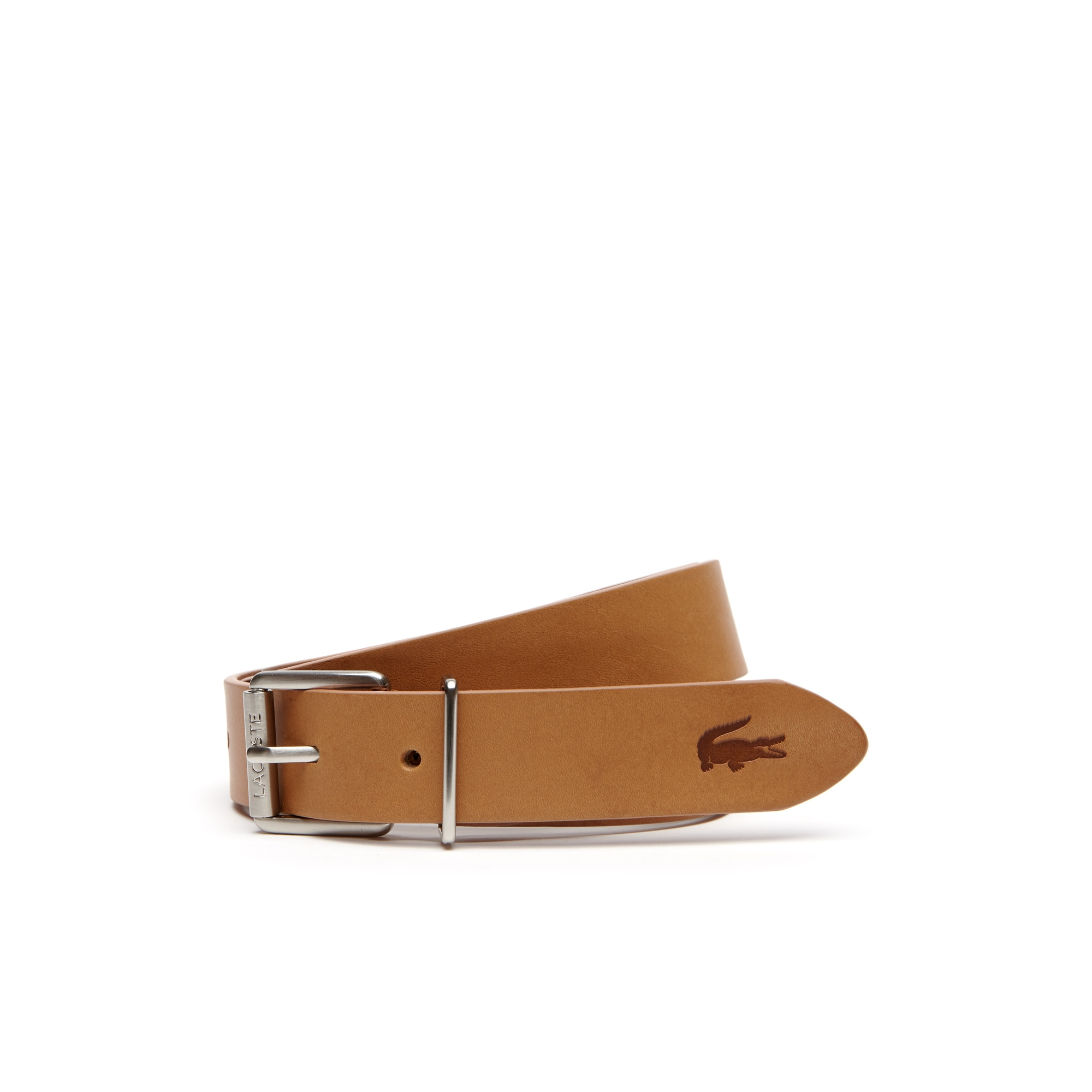 Men's Lacoste Engraved Rolling Tongue Buckle Leather Belt