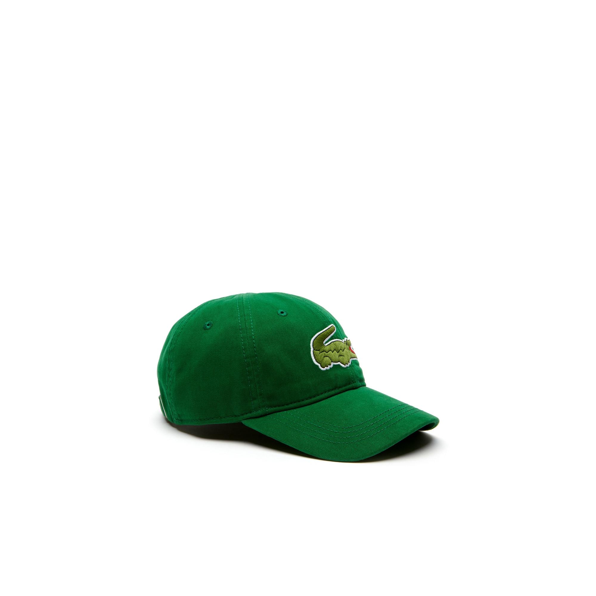 Gorra de gabardina con cocodrilo de gran formato