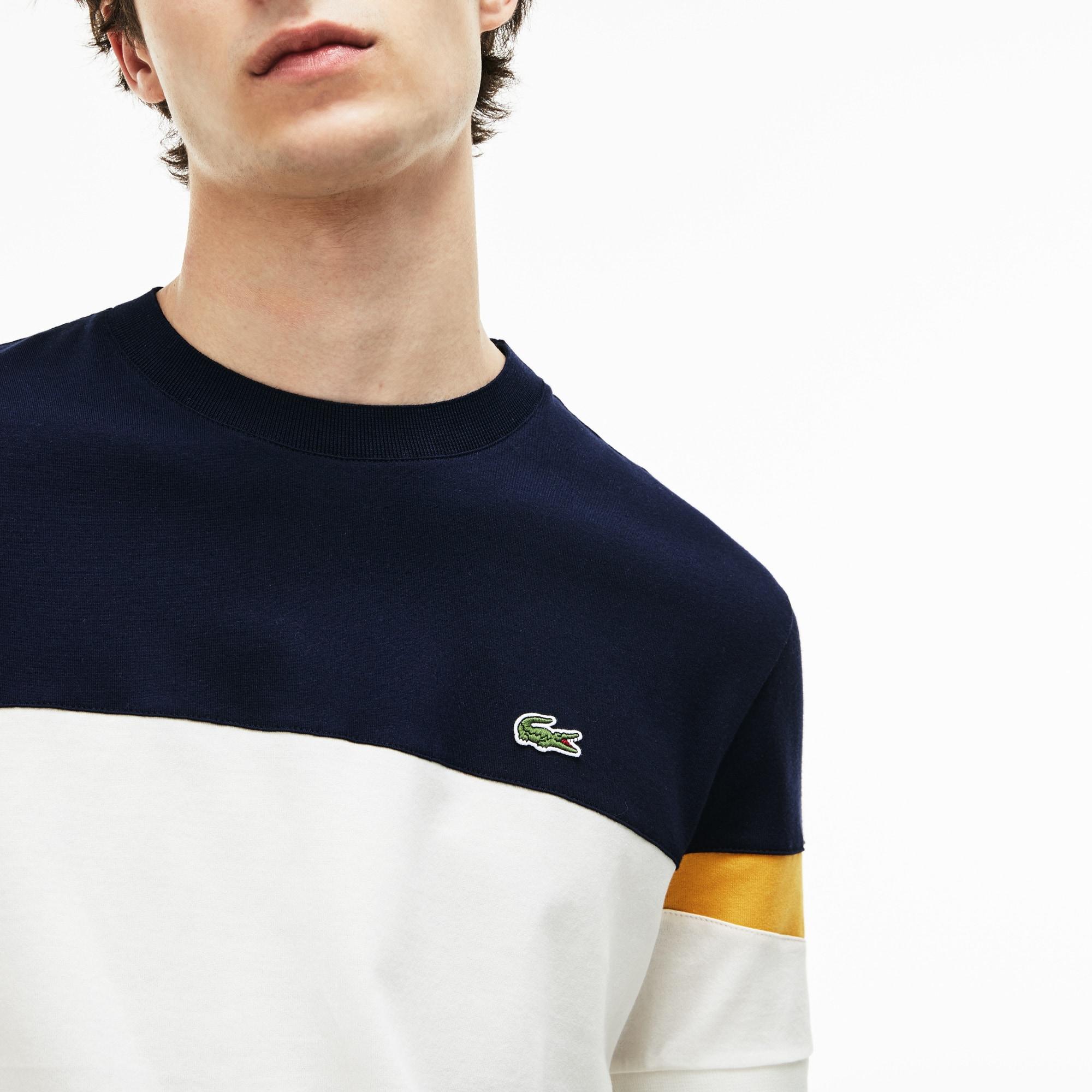 Camiseta De Hombre En Tejido De Punto Suave Color Block Con Cuello Redondo