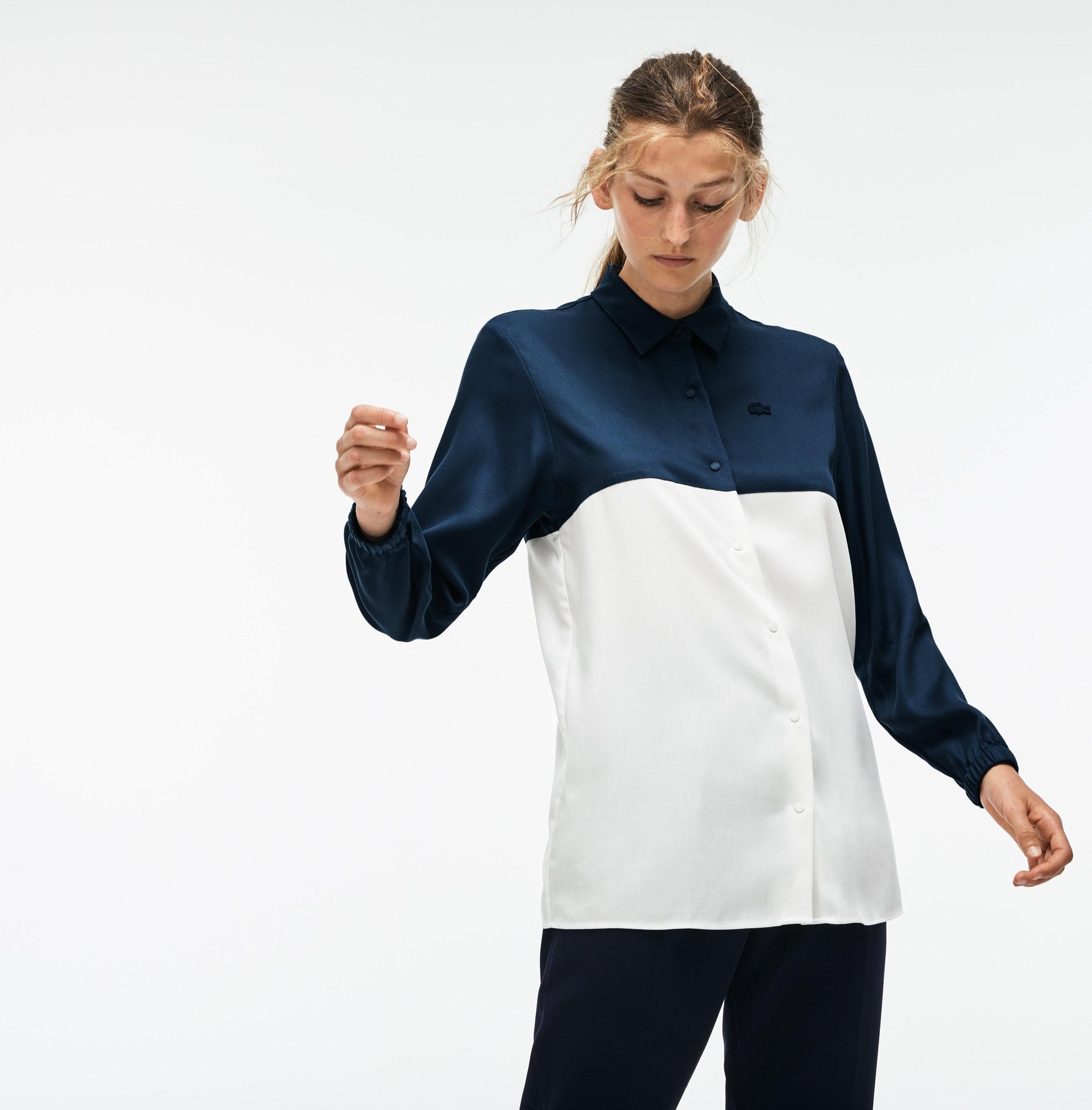 Camisa De Mujer En Piqué Fluido Bicolor Regular Fit