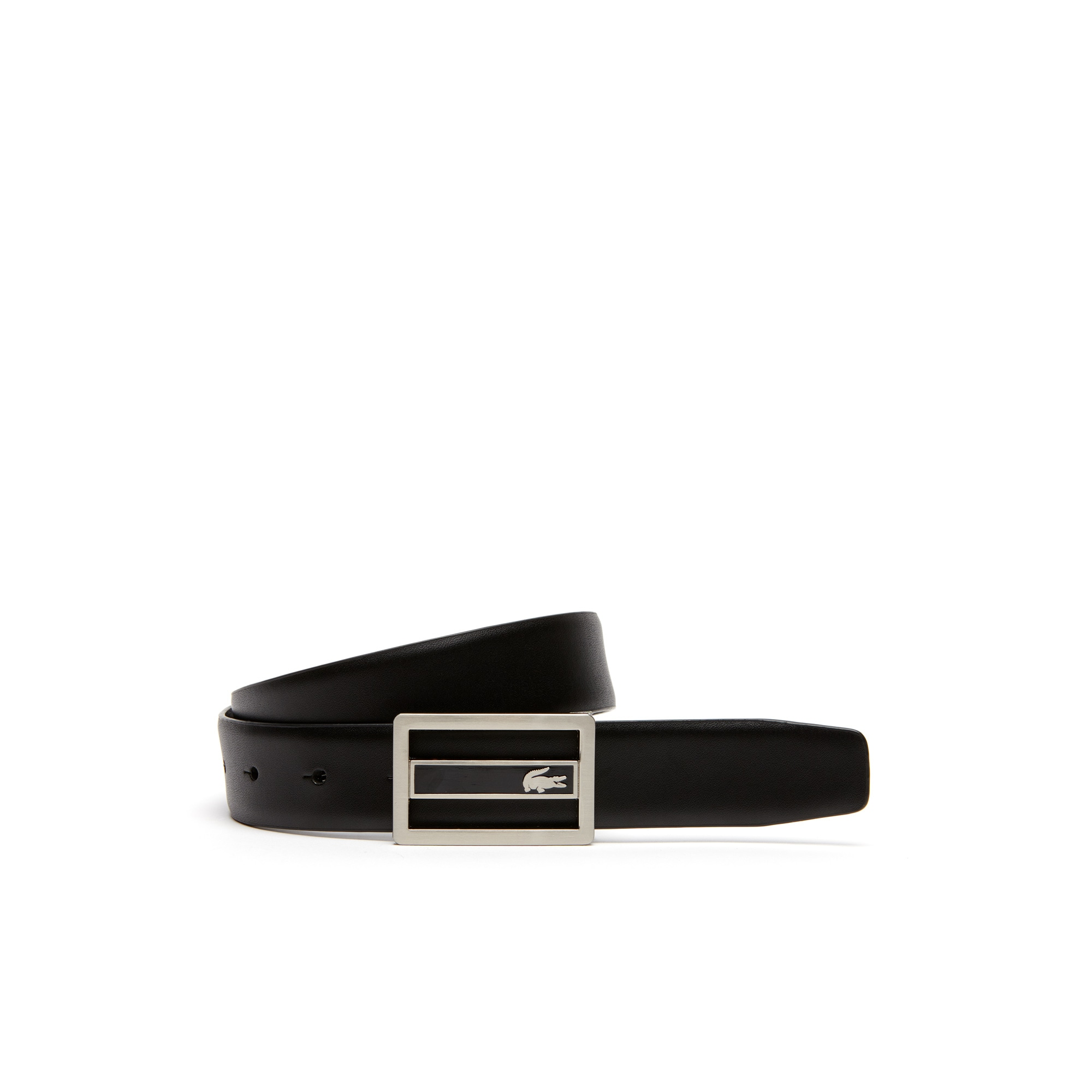 Belt in leather with engraved crocodile plate