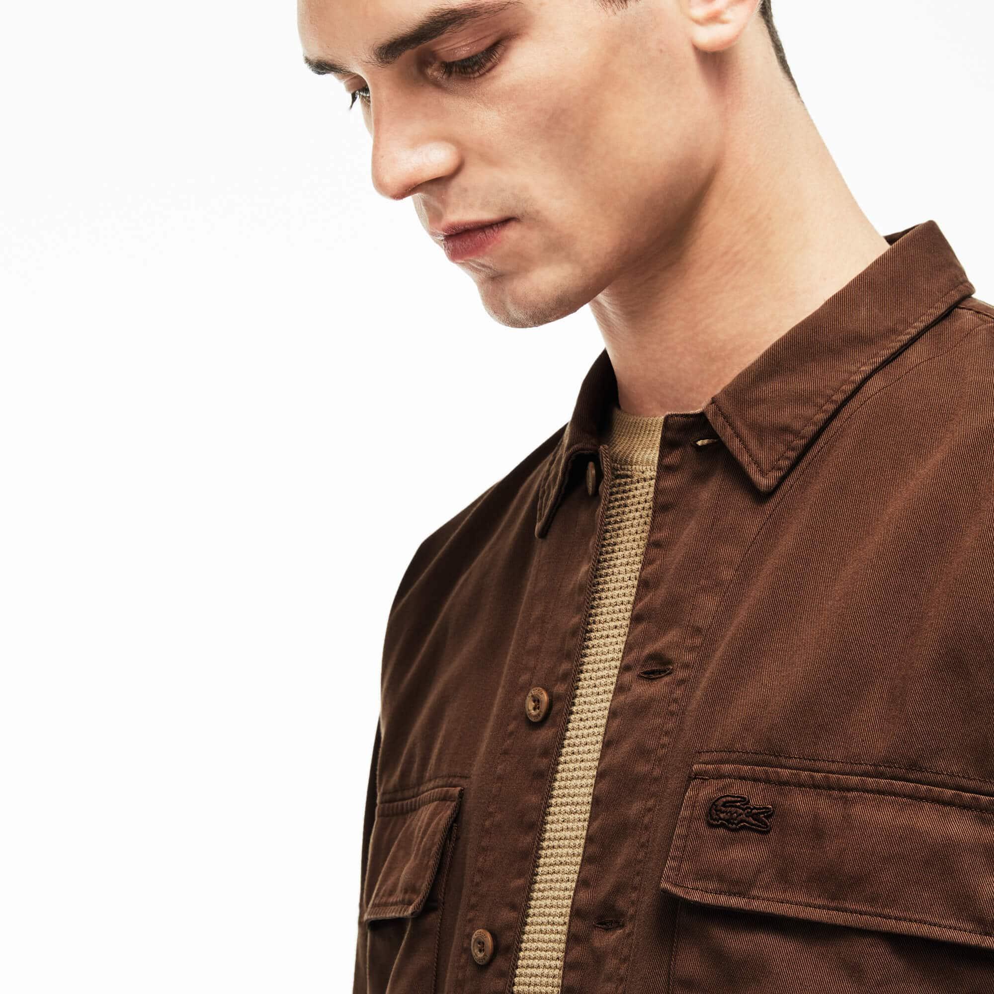 Camisa relax fit de sarga de algodón efecto deslavado
