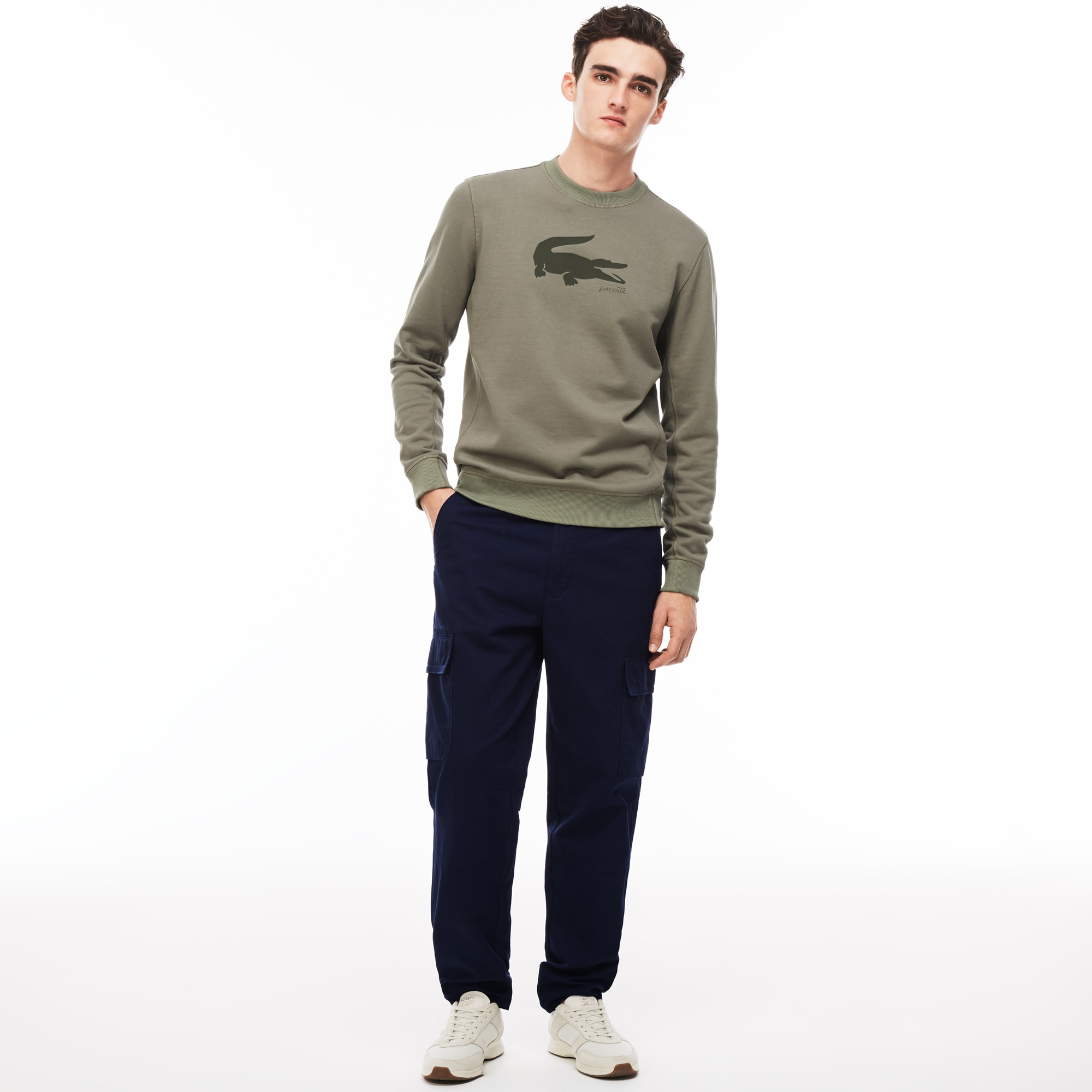 Pantalón cargo de sarga de algodón lisas