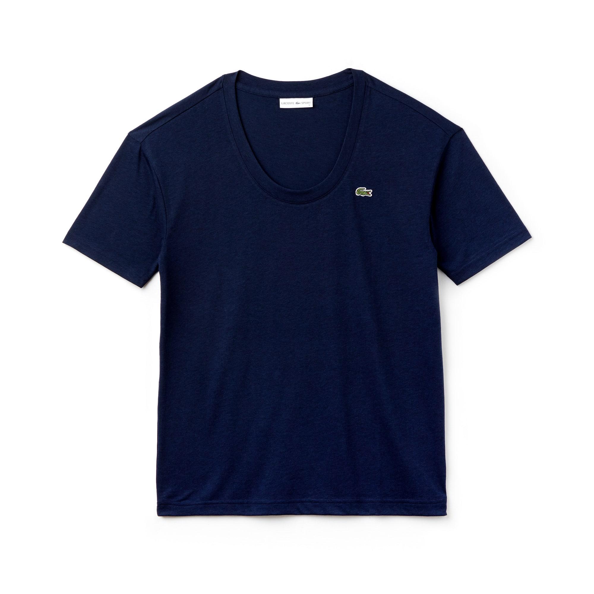 Camiseta con cuello en U de punto fluido liso Tenis Lacoste SPORT