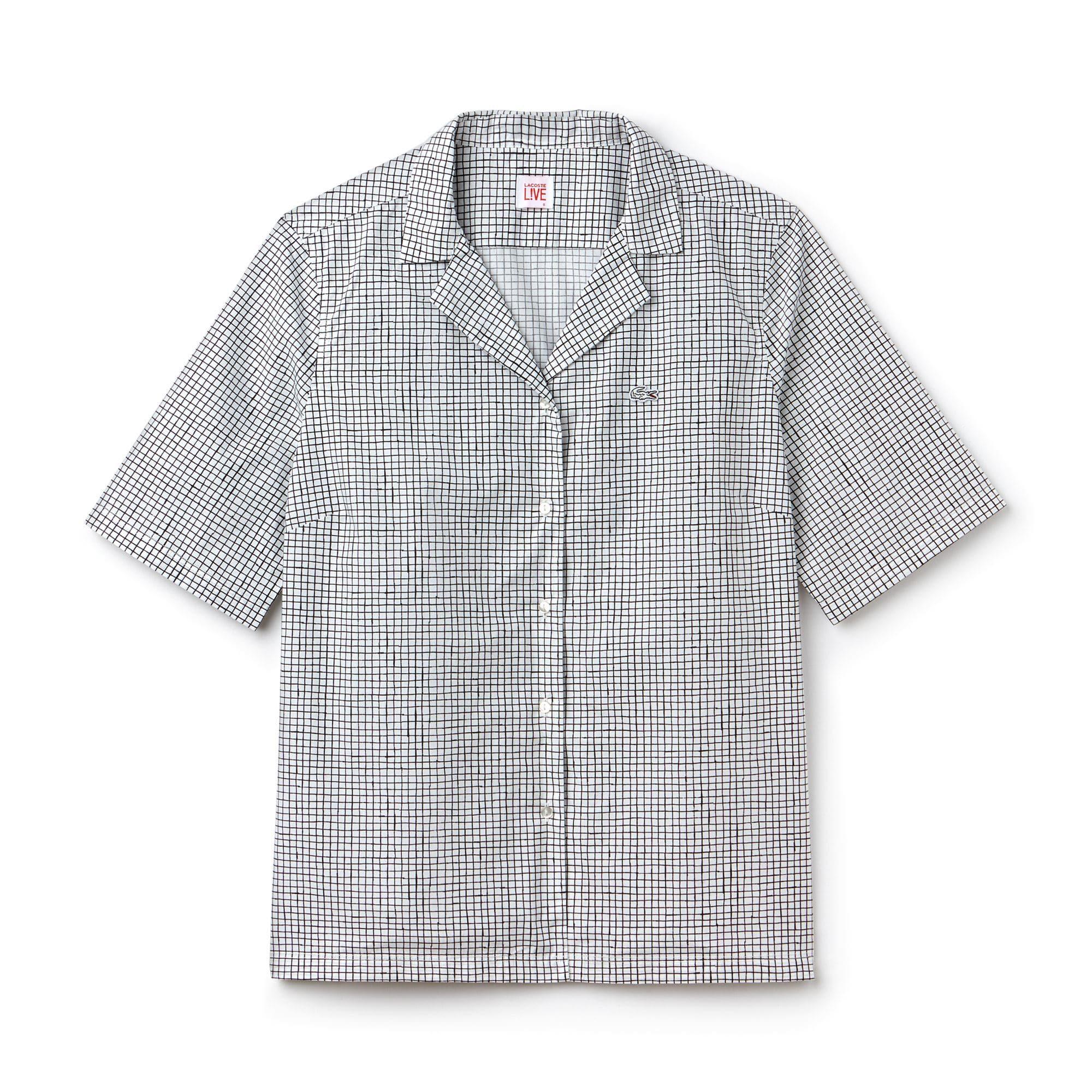 Camisa Lacoste LIVE de manga corta de popelín estampado
