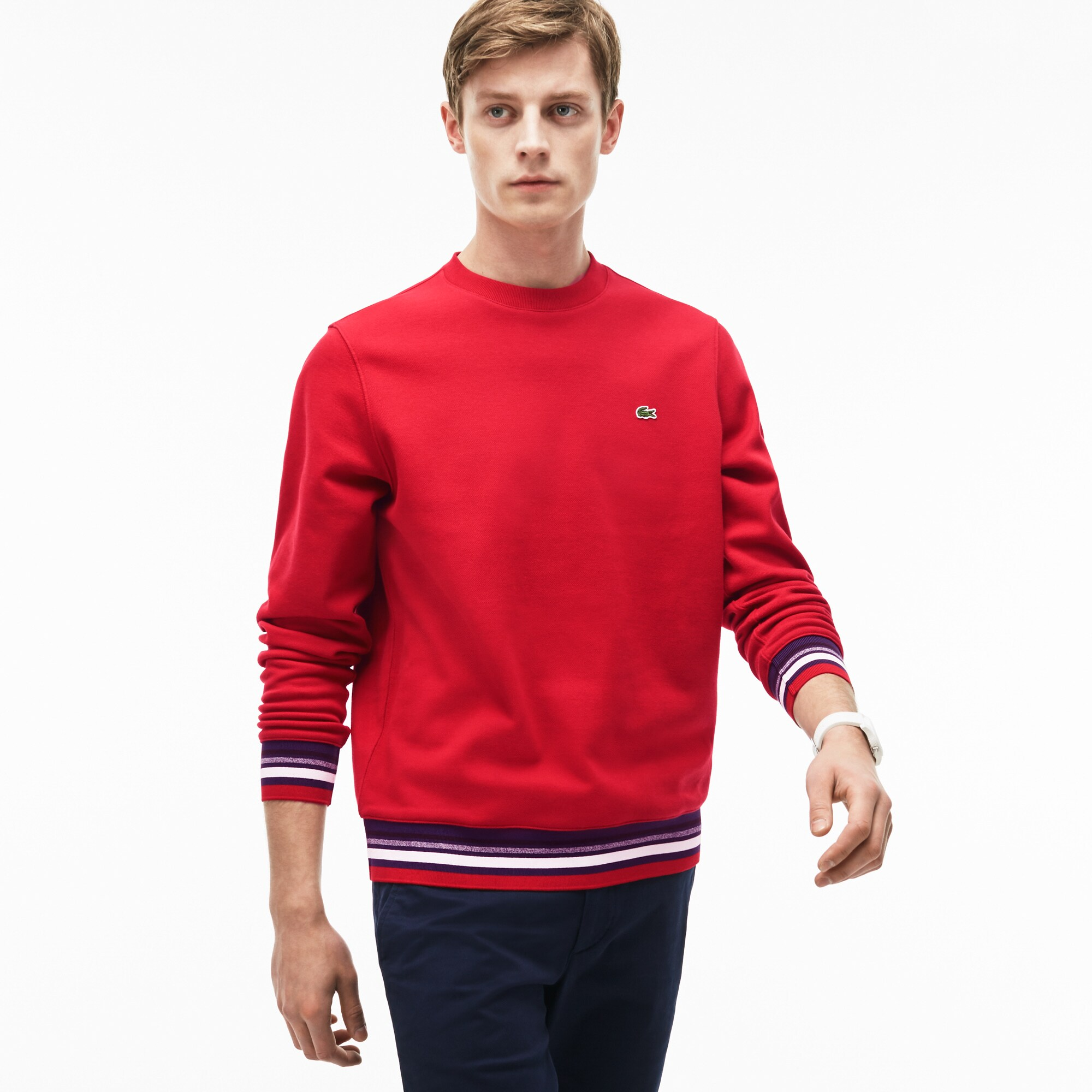 Men's Striped Accent Fleece Sweatshirt