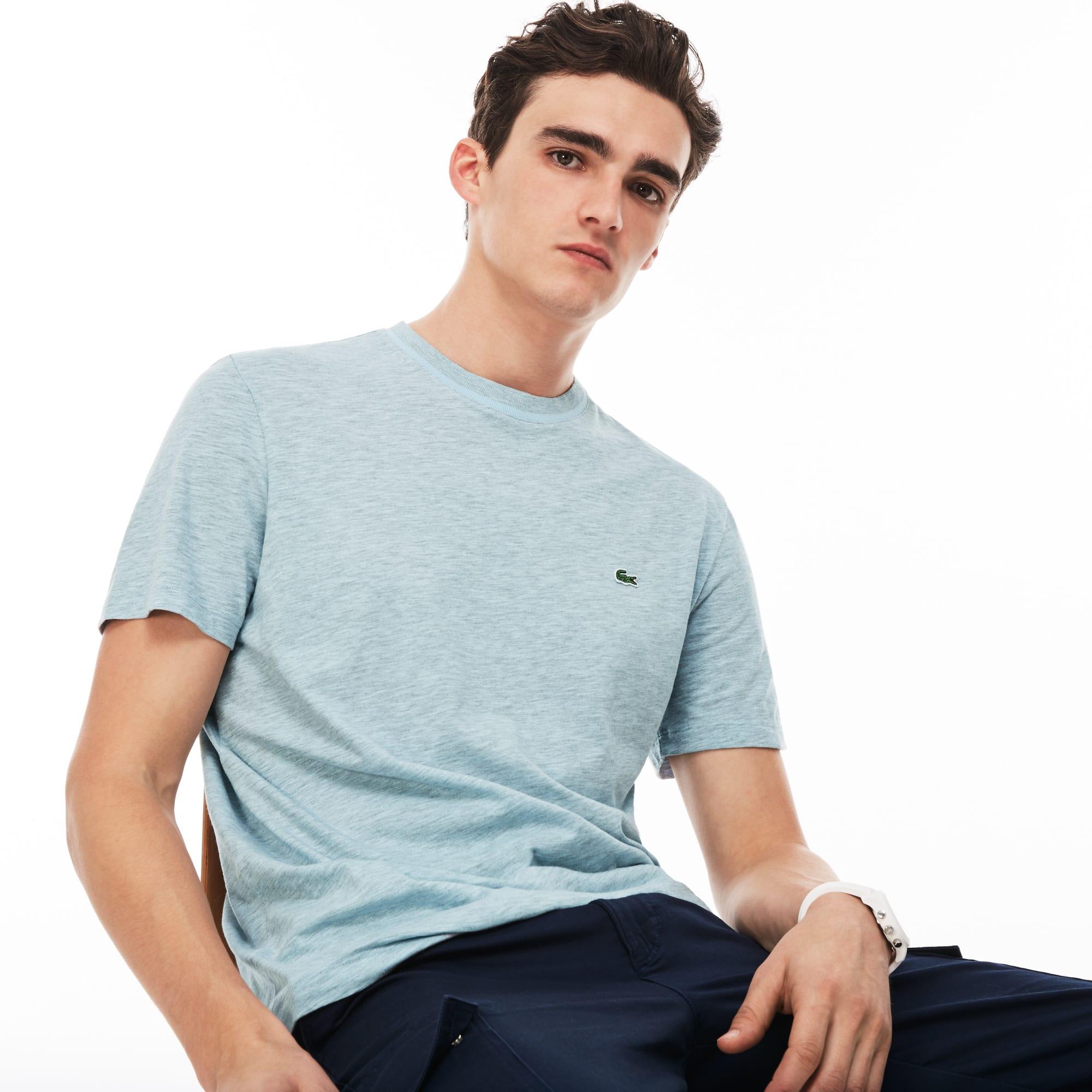 Camiseta de cuello redondo de punto jersey de algodón flameado liso
