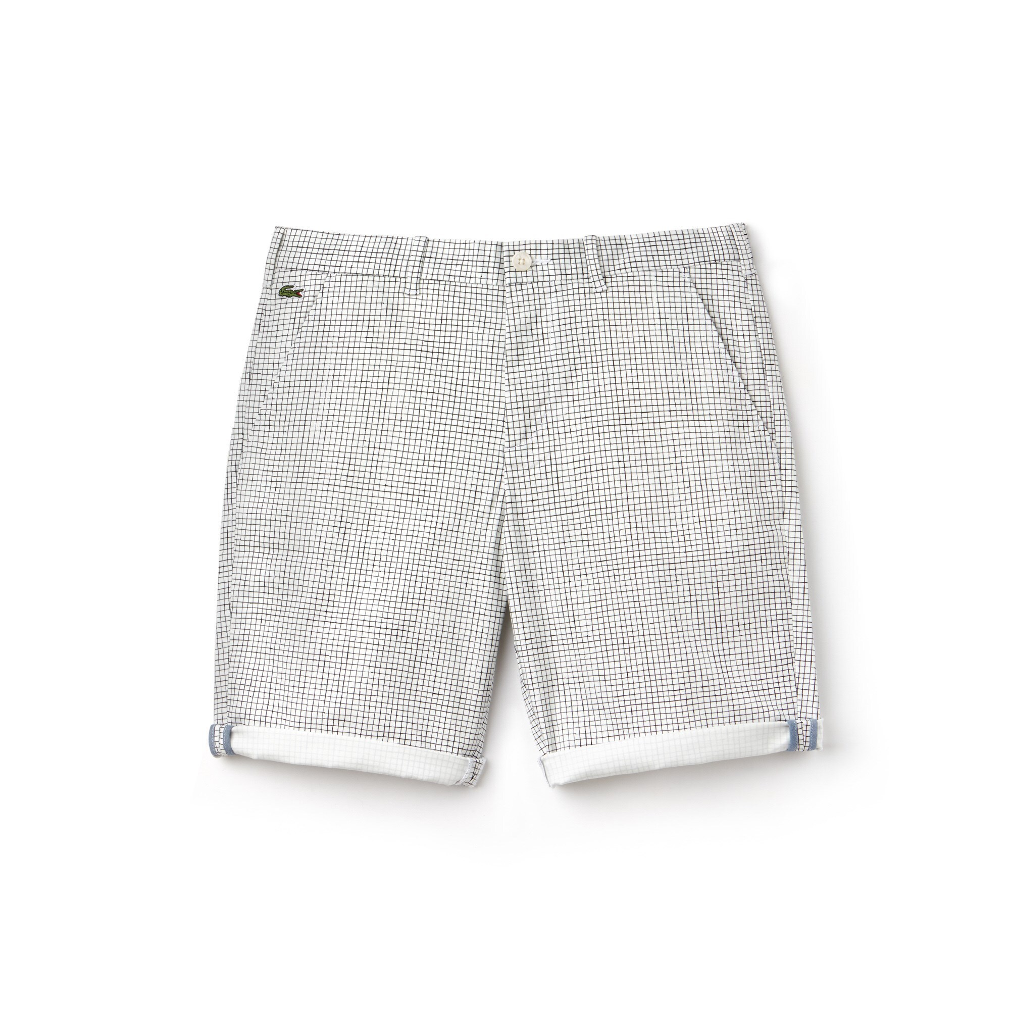 Bermudas Lacoste LIVE de sarga de algodón elástica con minicuadros