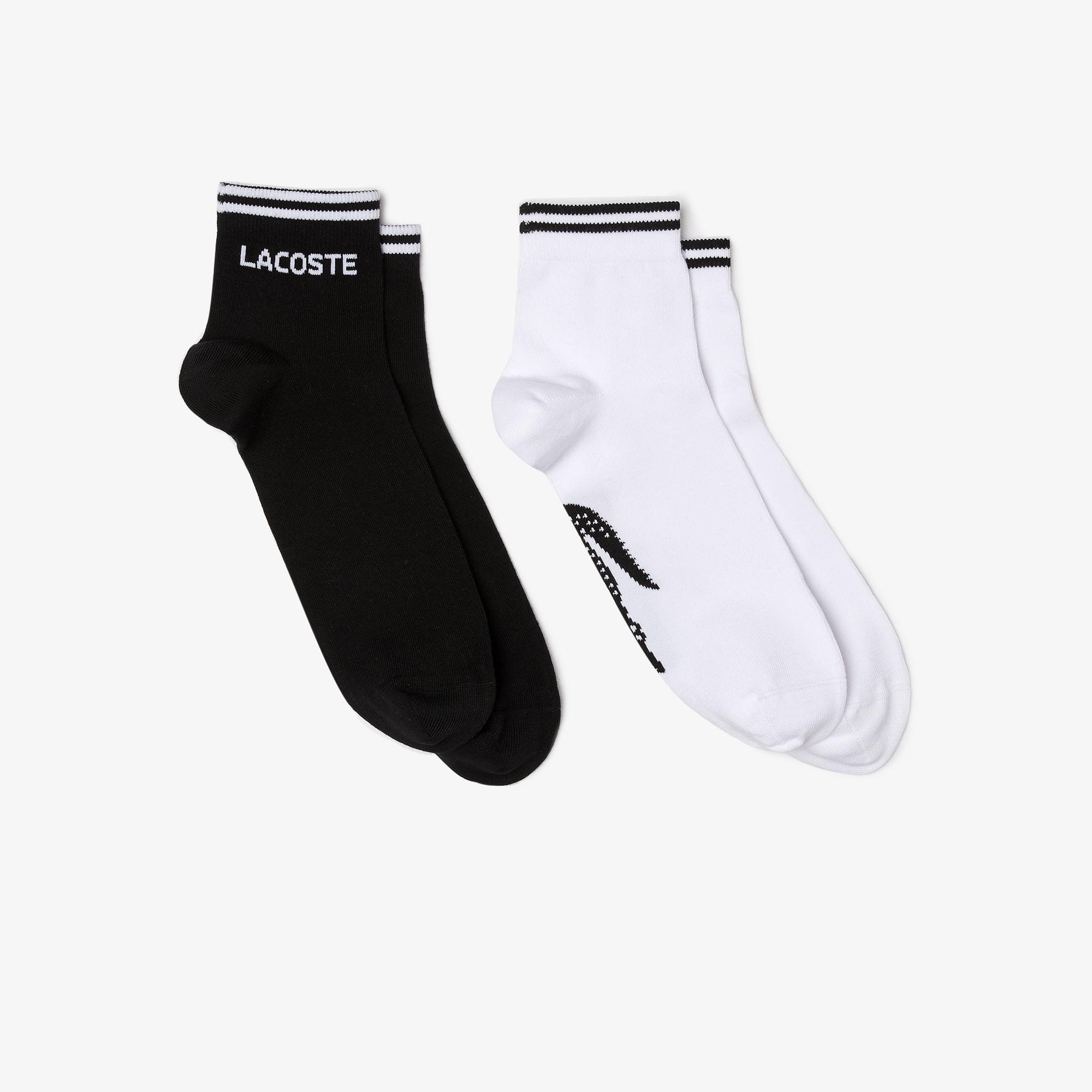 Lote de dos pares de calcetines bajos Lacoste Tennis de punto jersey jacquard