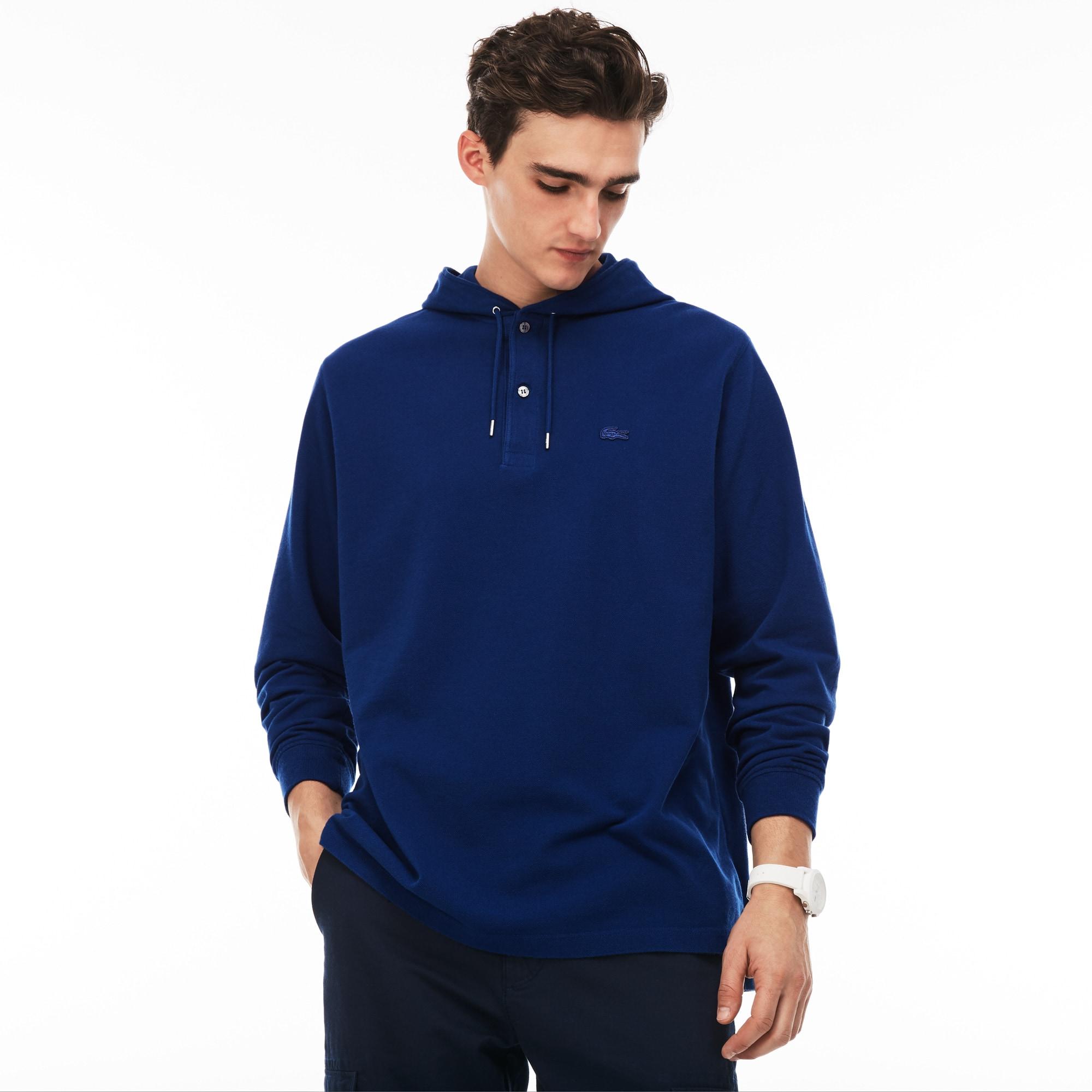 Men's Relaxed Fit Petit Piqué Hooded T-shirt