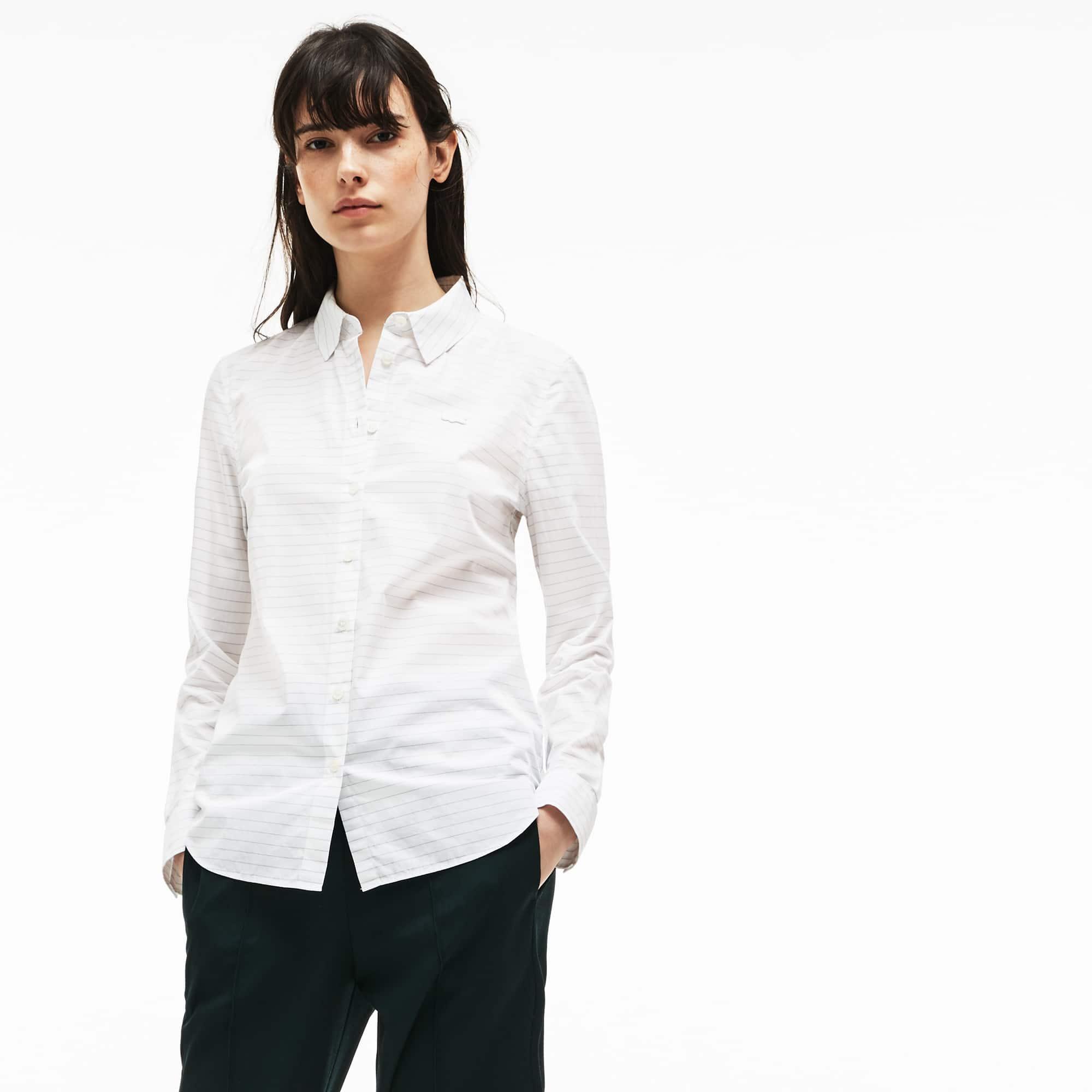 Camisa De Mujer Regular Fit En Popelín De Algodón De Rayas