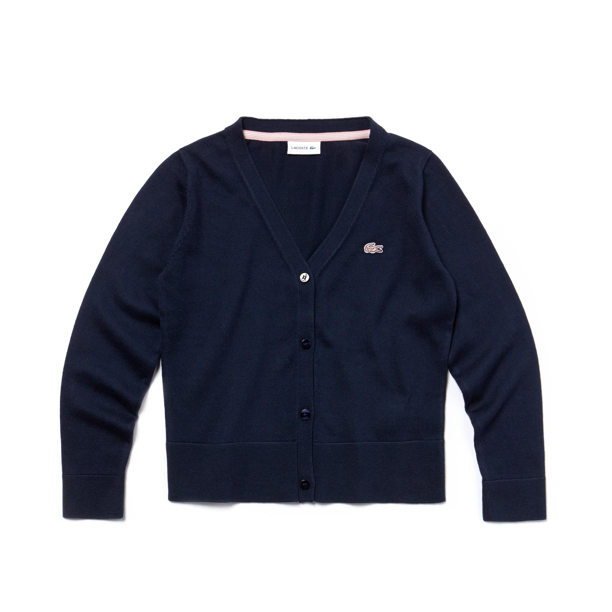 Cárdigan de niña de punto jersey de algodón liso