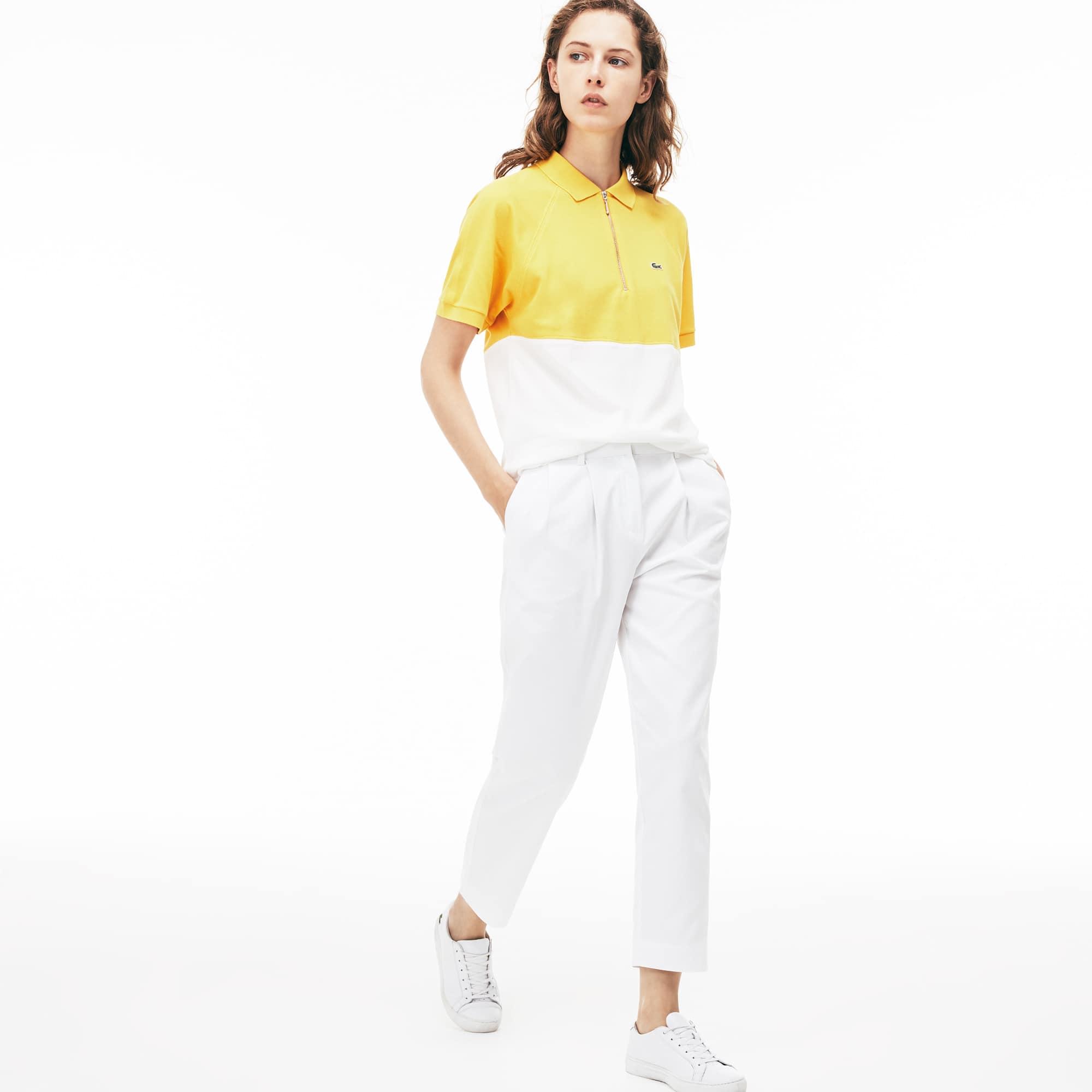 Pantalón de pinzas carrot fit en algodón texturizado liso