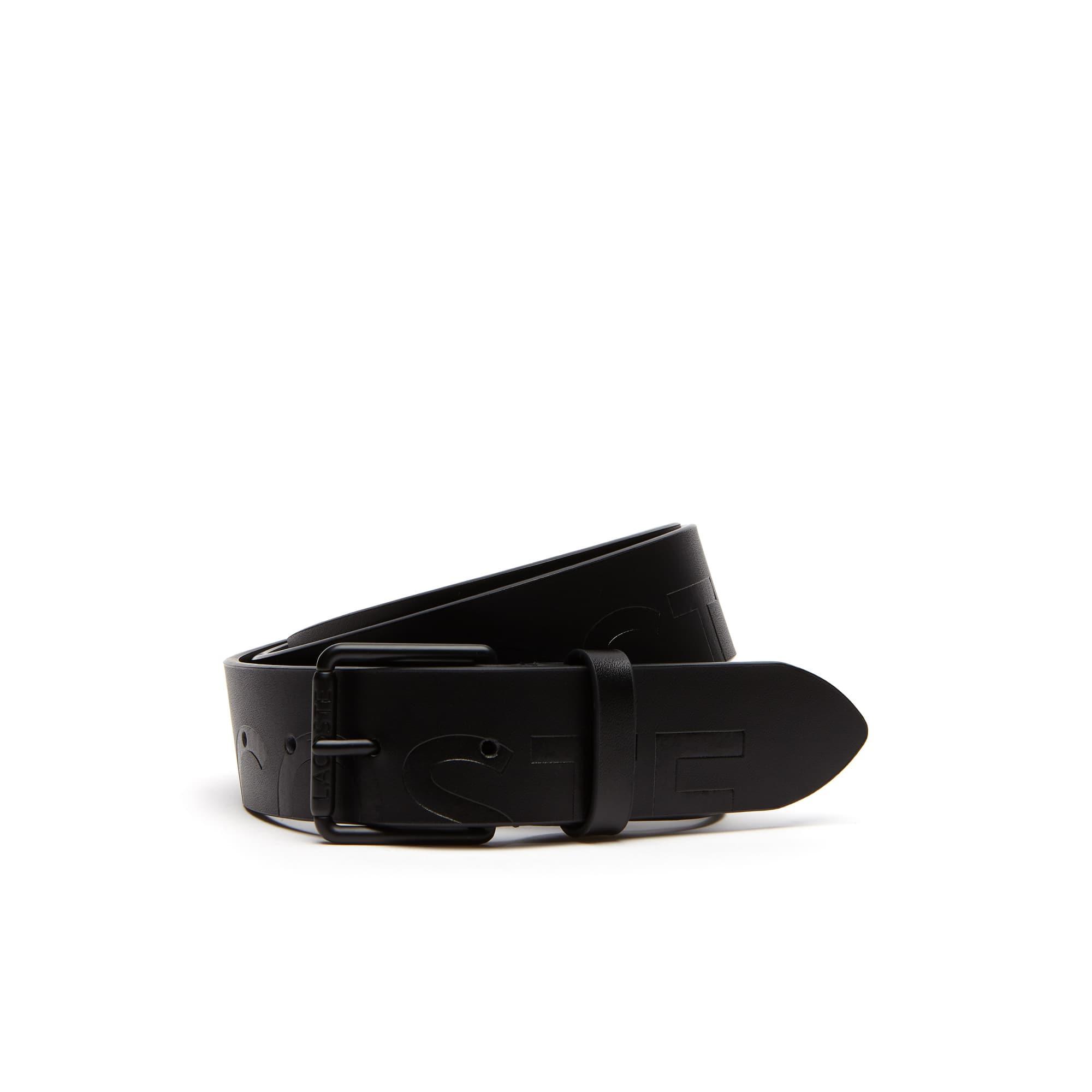 Cinturón de cuero con marcado Lacoste con hebilla de rodillo grabada
