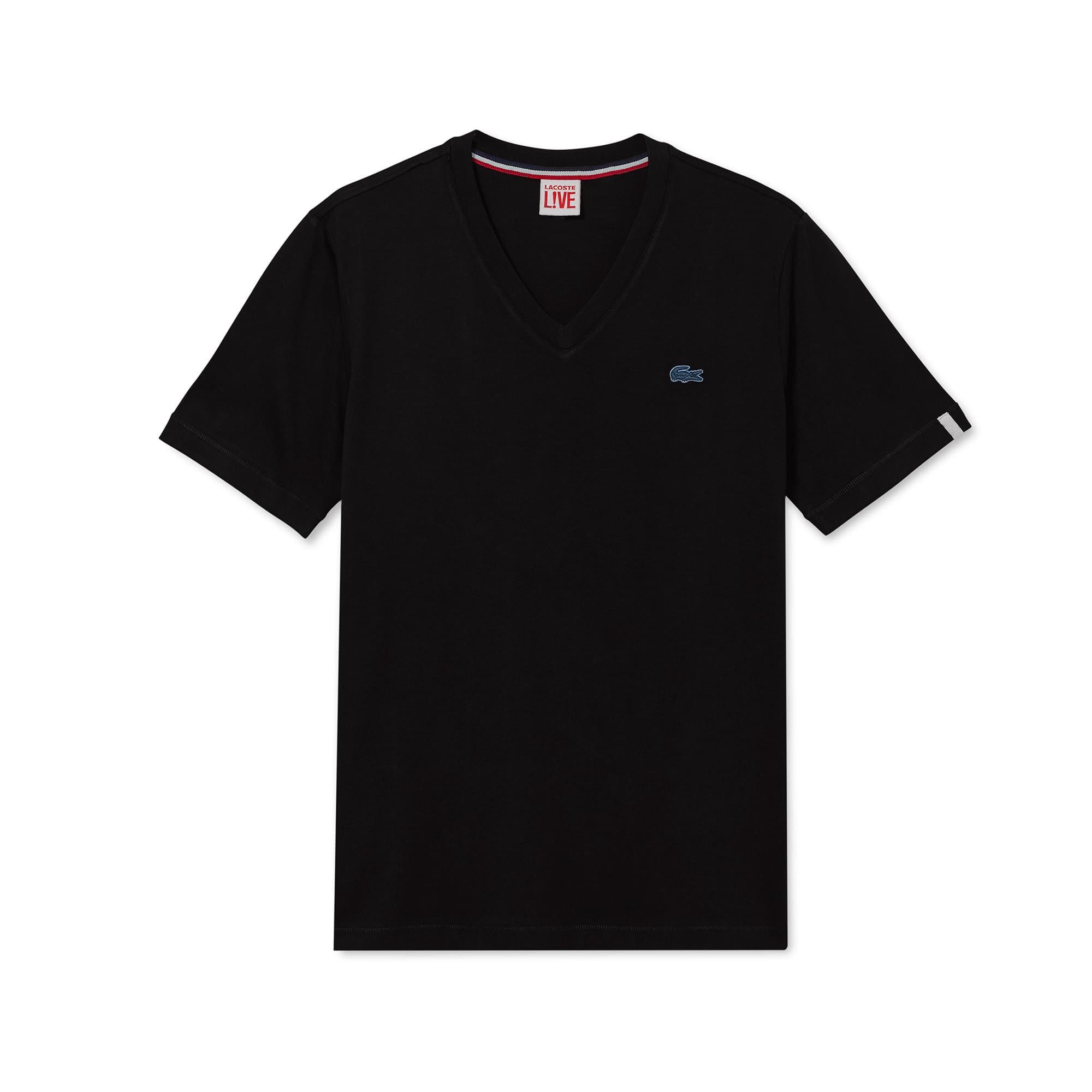 Camiseta unisex en tejido de punto de algodón con cuello de pico Lacoste LIVE