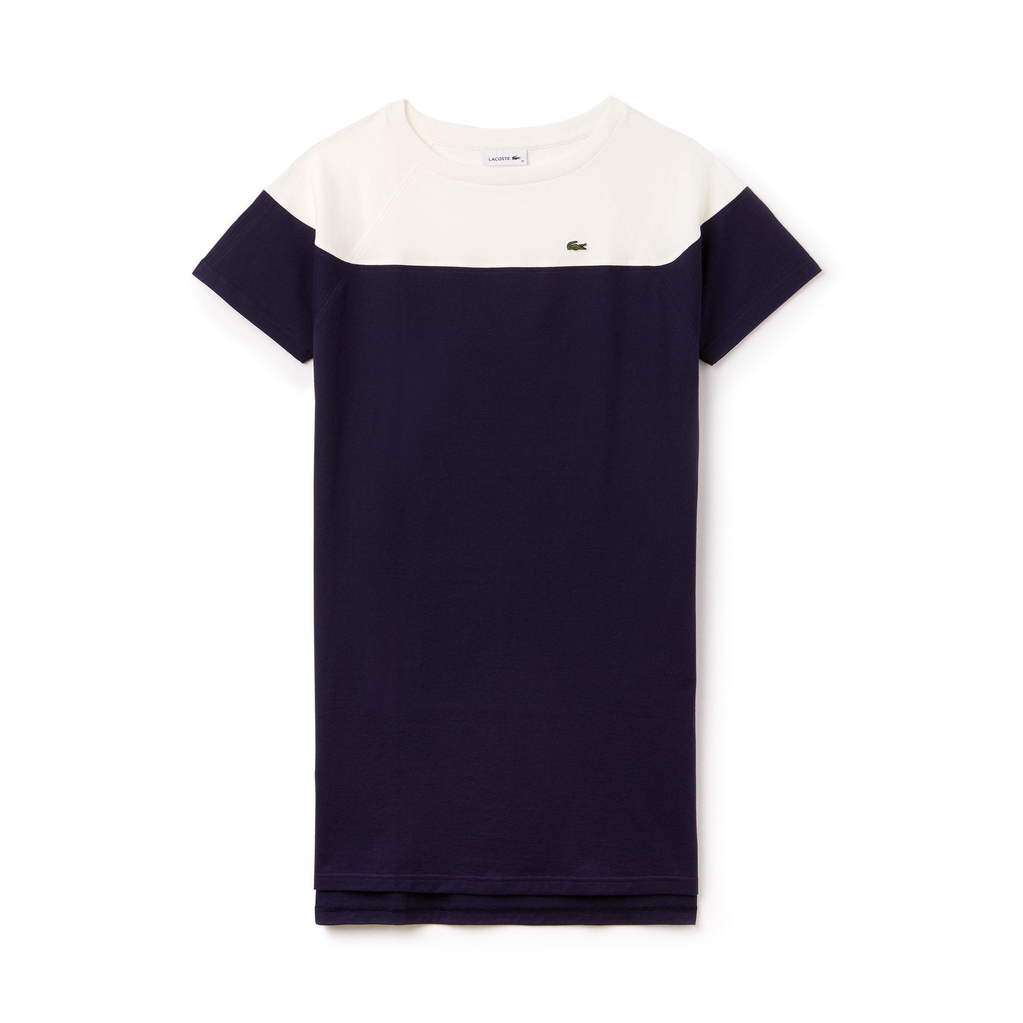 Vestido Camiseta Con Cuello Barco De Punto Liso De Algodón Color Block