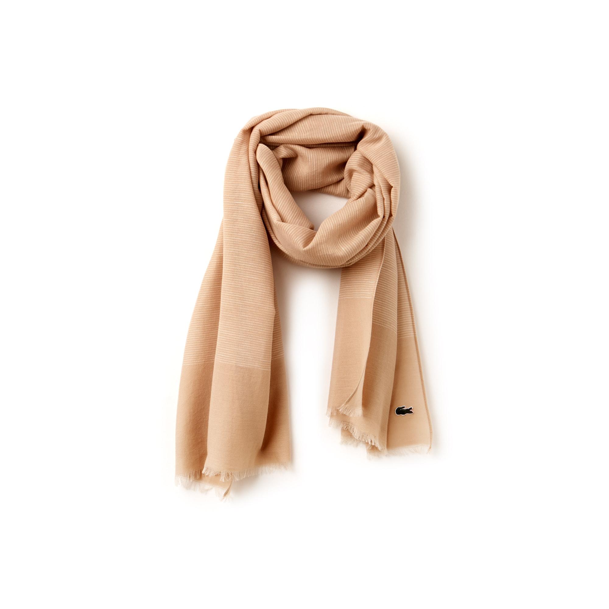Bufanda de velo de algodón y lino de rayas
