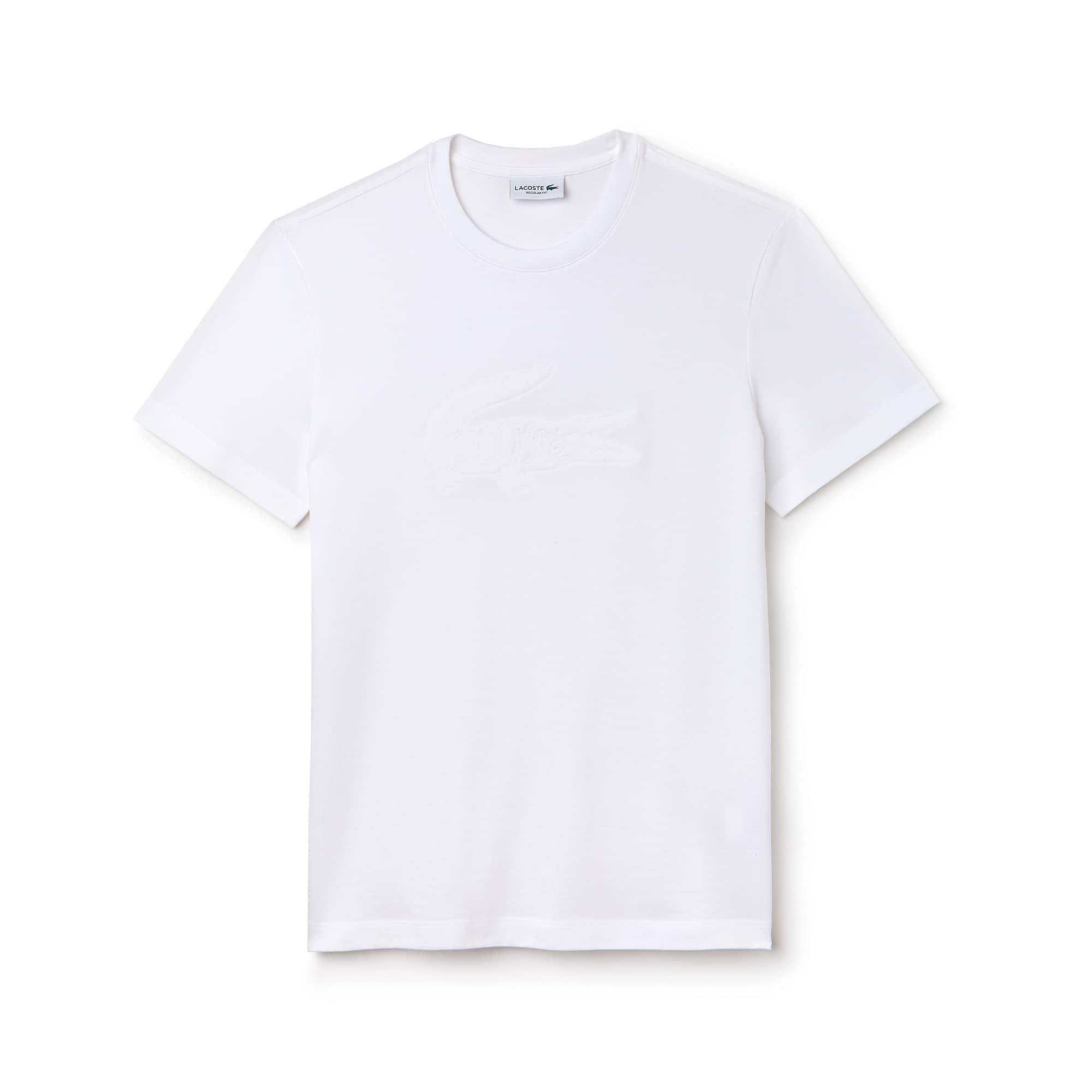 Camiseta de cuello redondo de minipiqué de algodón con bordado de cocodrilo