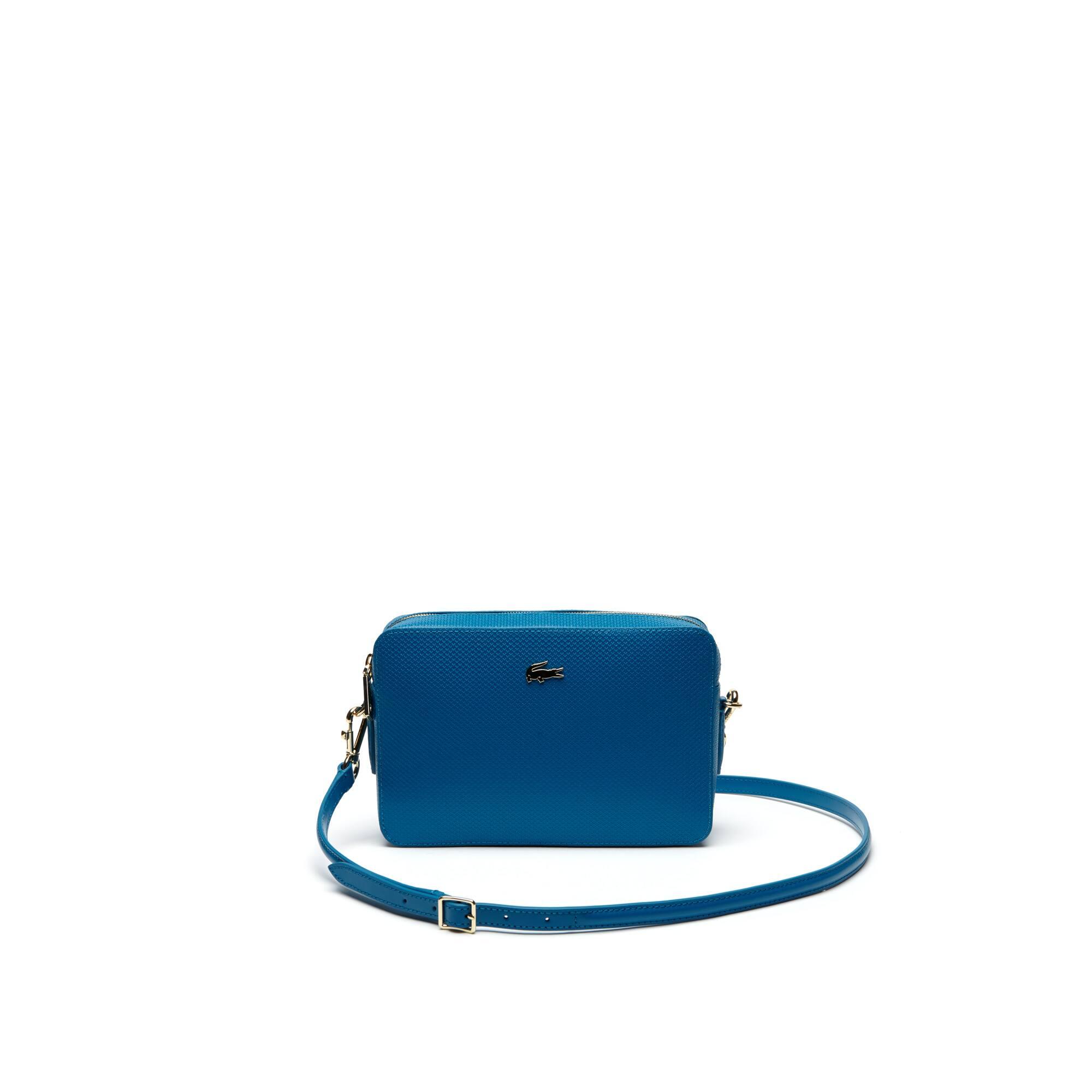 Bolso cruzado cuadrado de mujer de piel con trama de tejido de polo piqué de la colección Chantaco