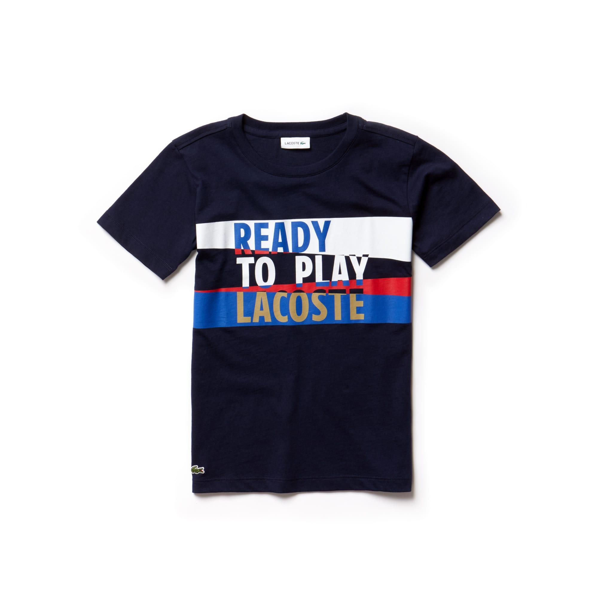 Camiseta De Niño En Tejido De Punto De Algodón Con Inscripción Ready To Play Y Cuello Redondo