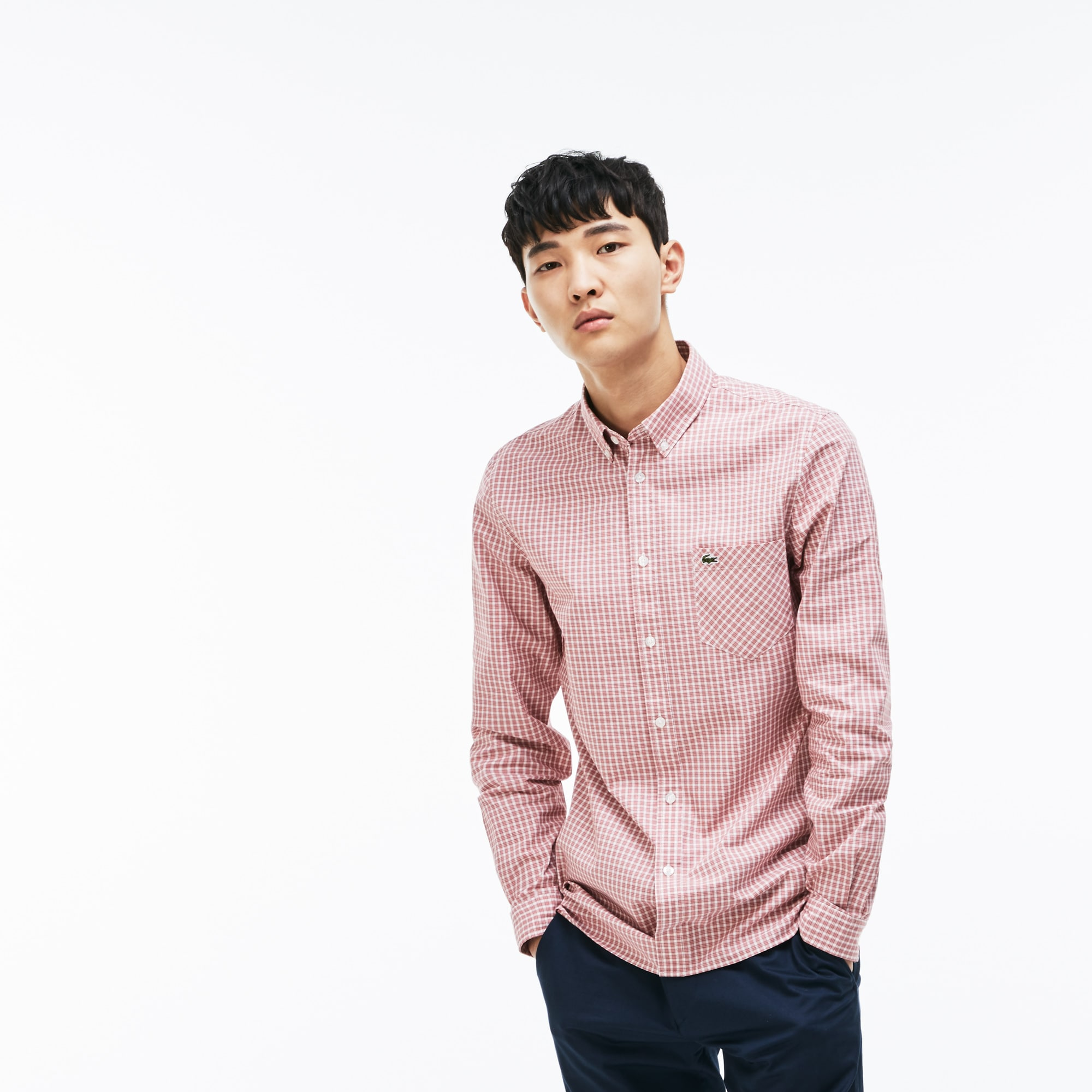 Camisa slim fit de popelín de algodón elástico con cuadros bicolores
