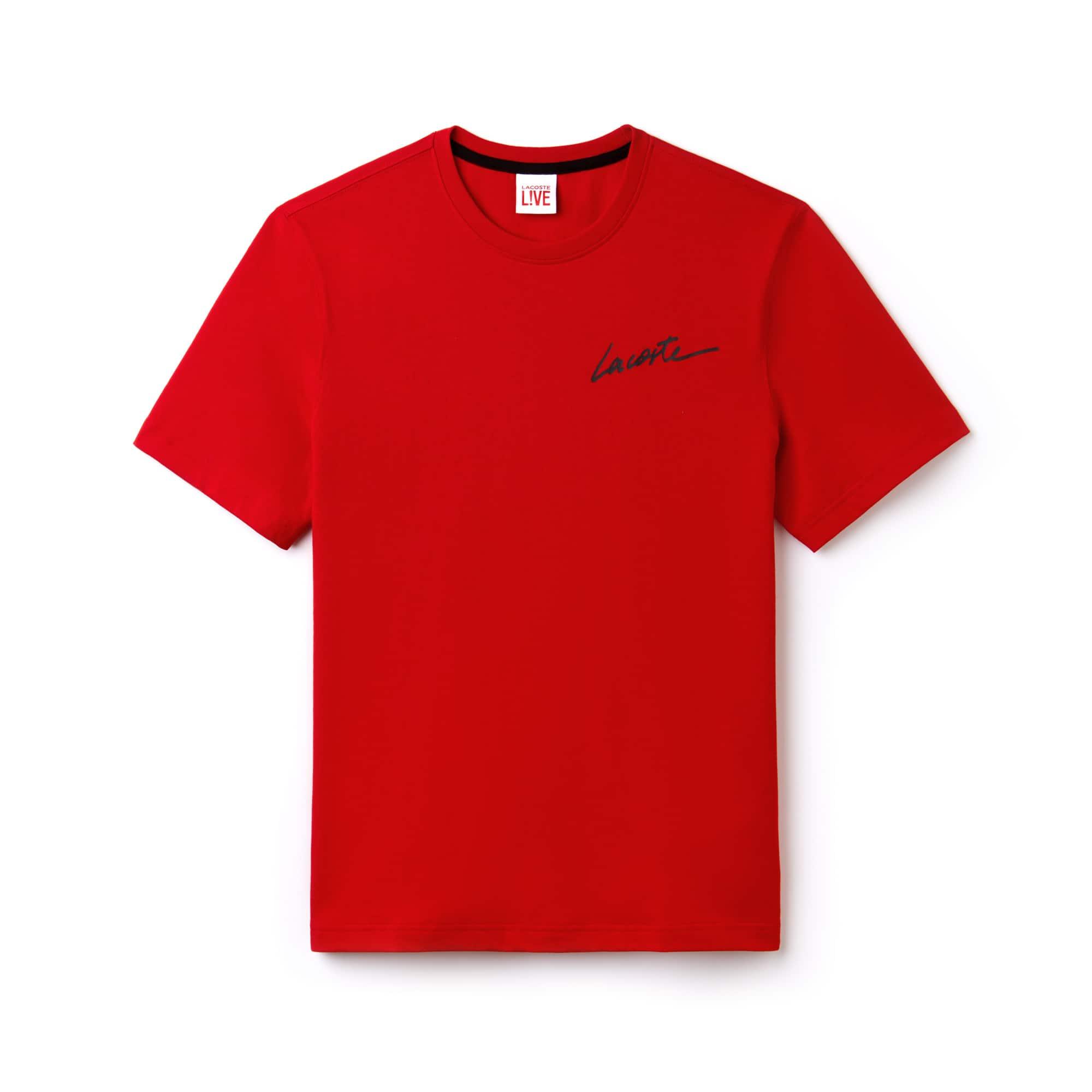 Camiseta De Hombre Lacoste LIVE En Tejido De Punto Con Firma Lacoste Y Cuello Redondo