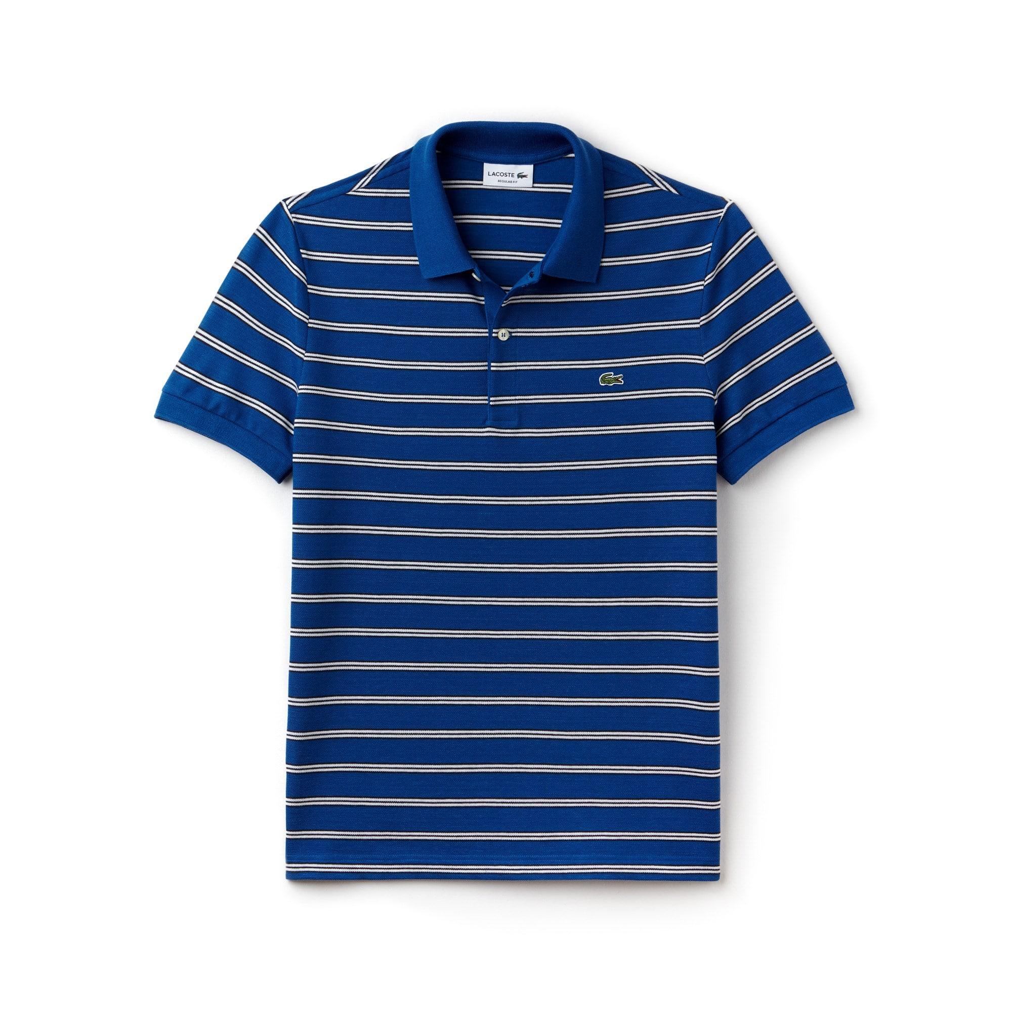 Men's Lacoste Regular Fit Striped Texturized Cotton Piqué Polo