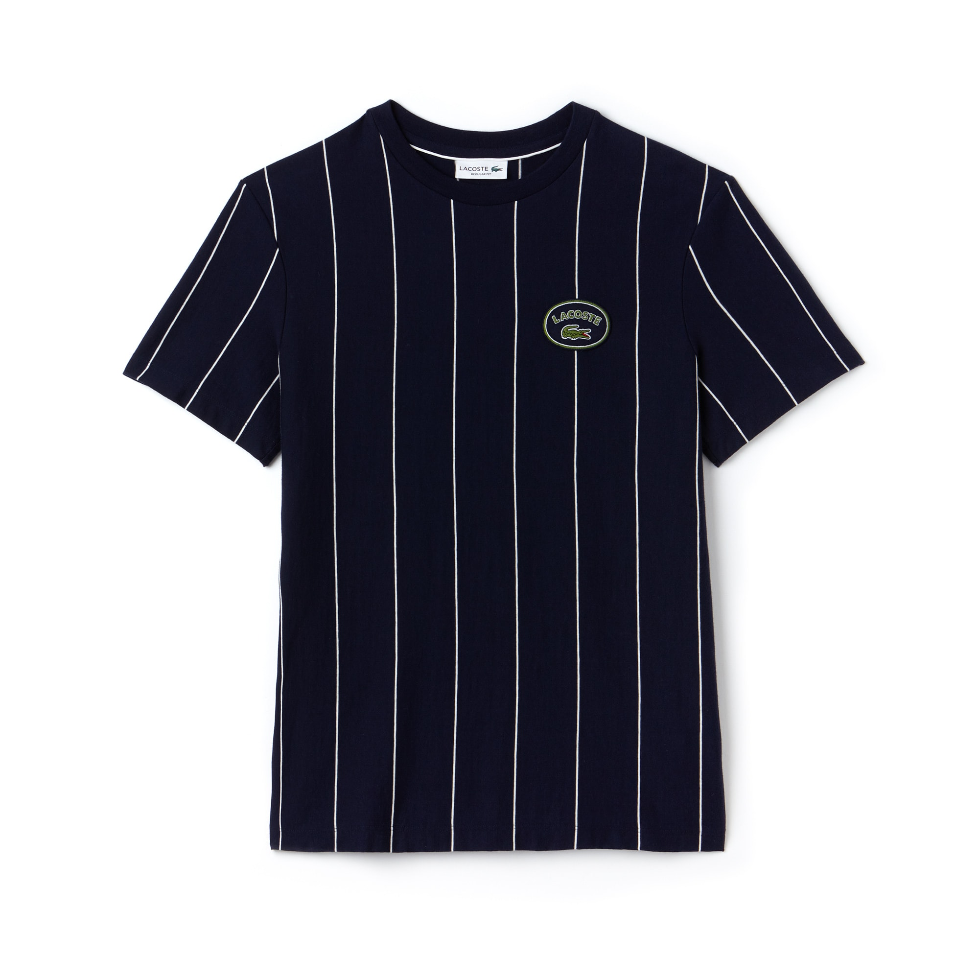 Camiseta De Hombre En Tejido De Punto De Algodón De Rayas Verticales Con Cuello Redondo