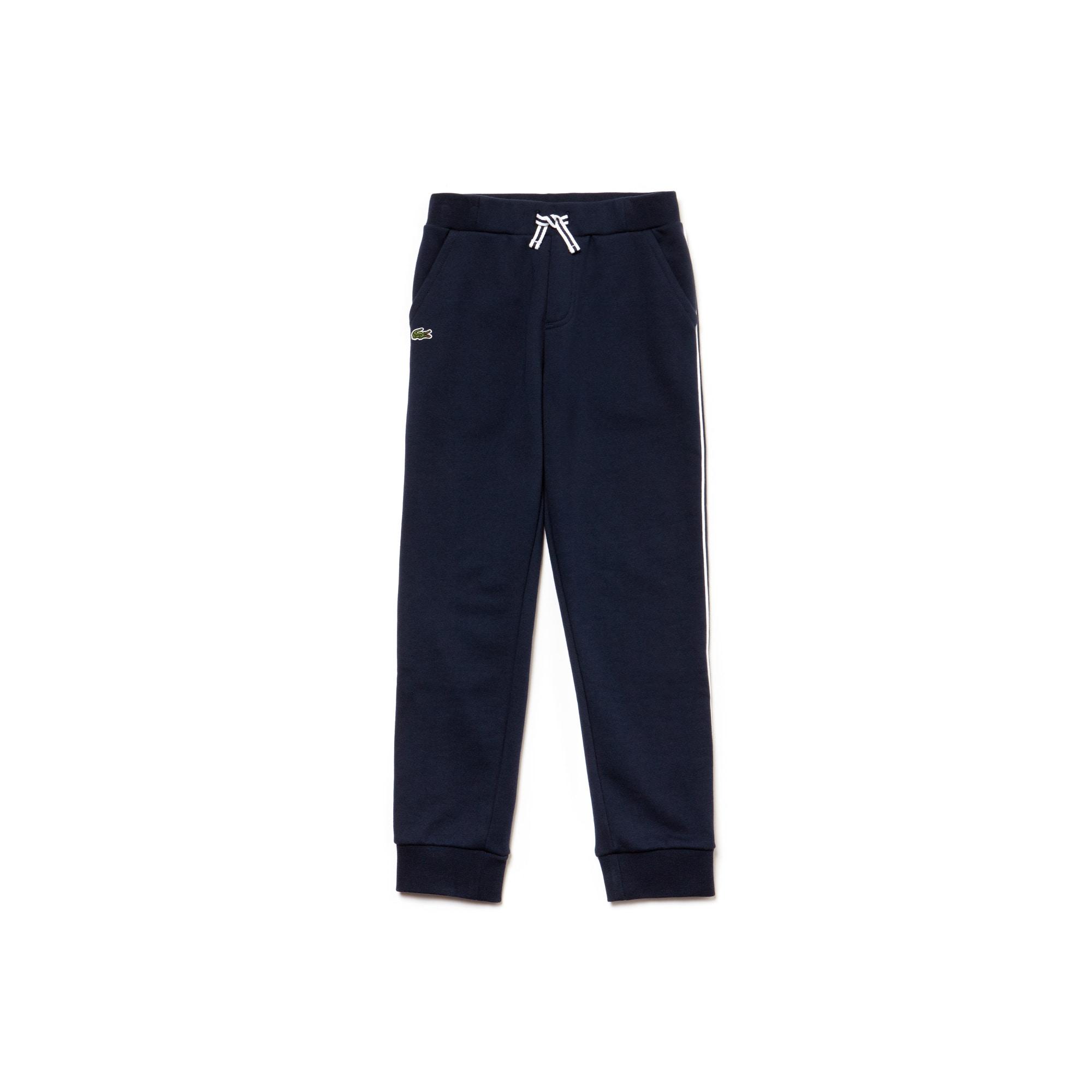 Pantalón de chándal de niño de muletón con franjas contrastantes