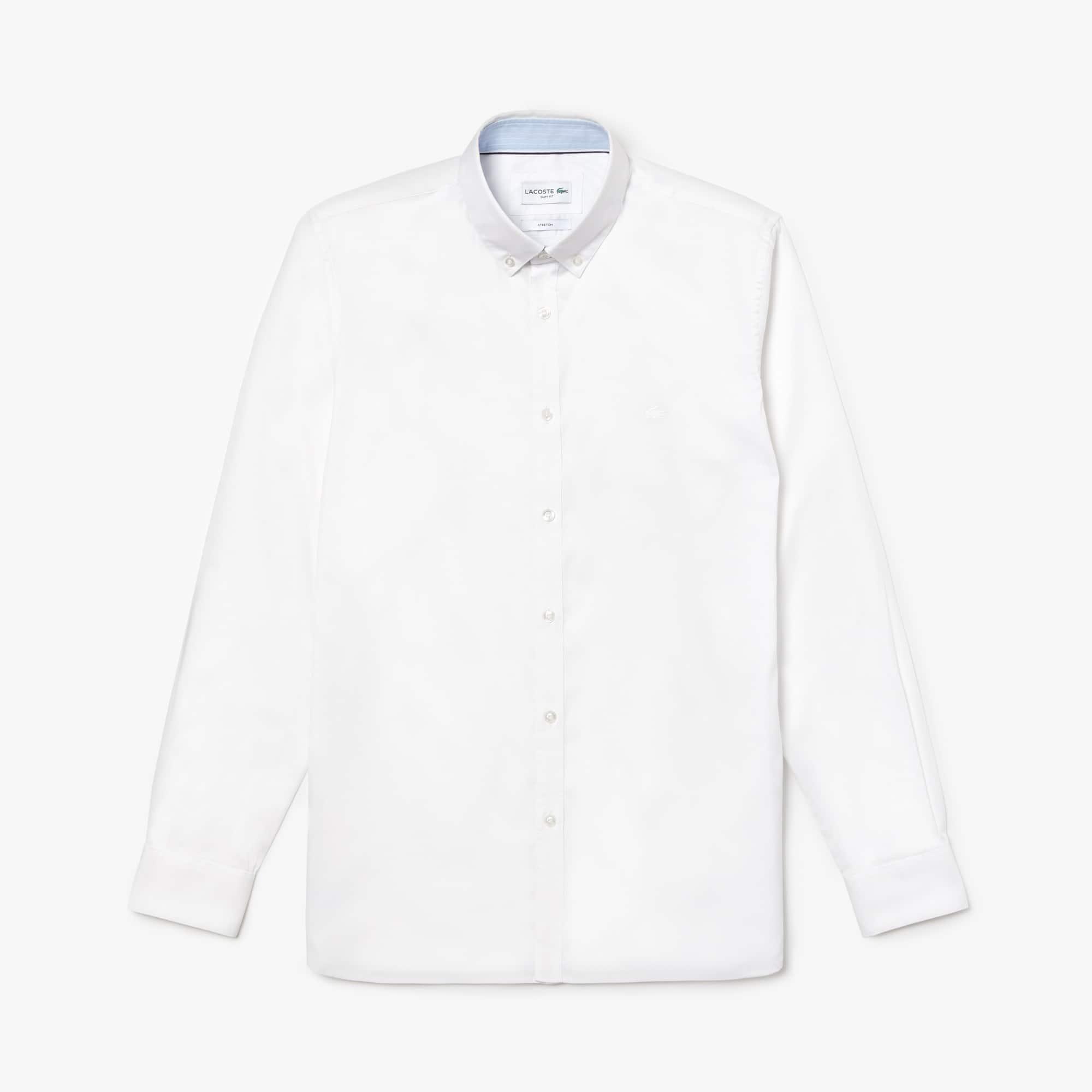 Camisa De Hombre Slim Fit En Algodón Pinpoint Elástico