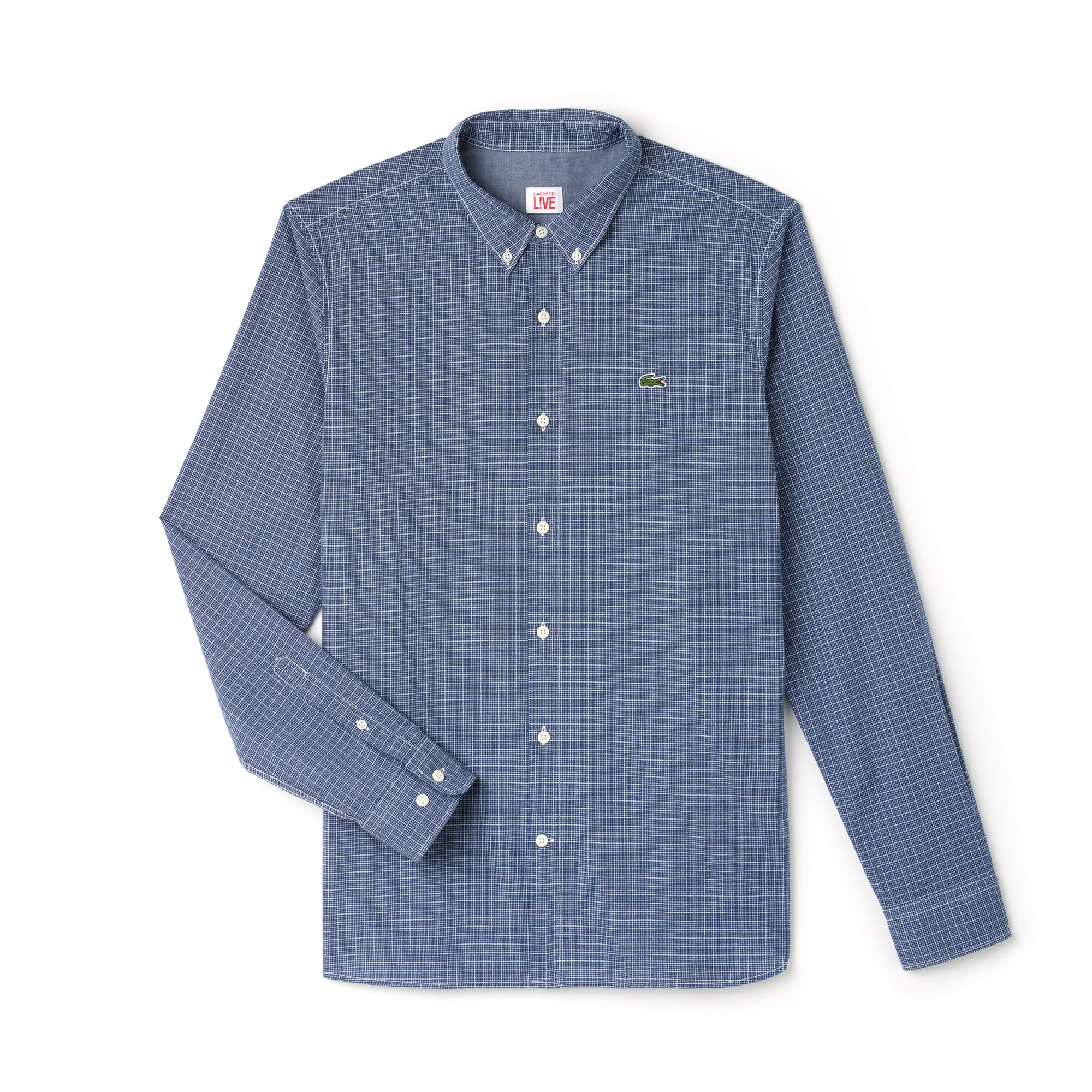 Men's Lacoste LIVE Slim Fit Check Salt-And-Pepper Cotton Shirt