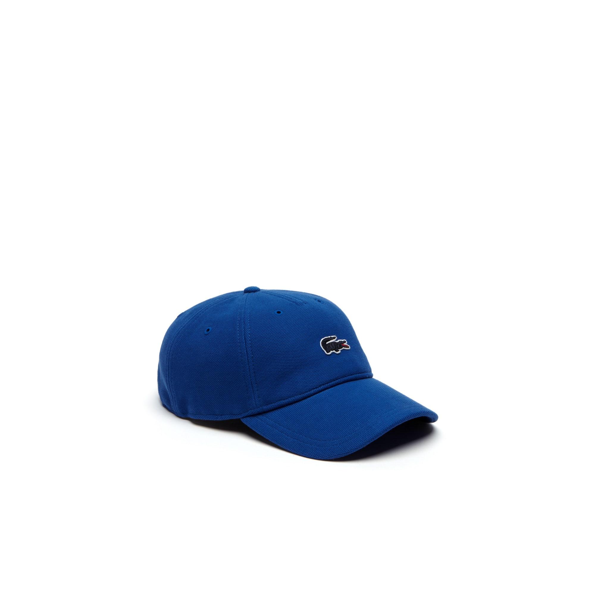 Gorra de piqué liso con parche cocodrilo