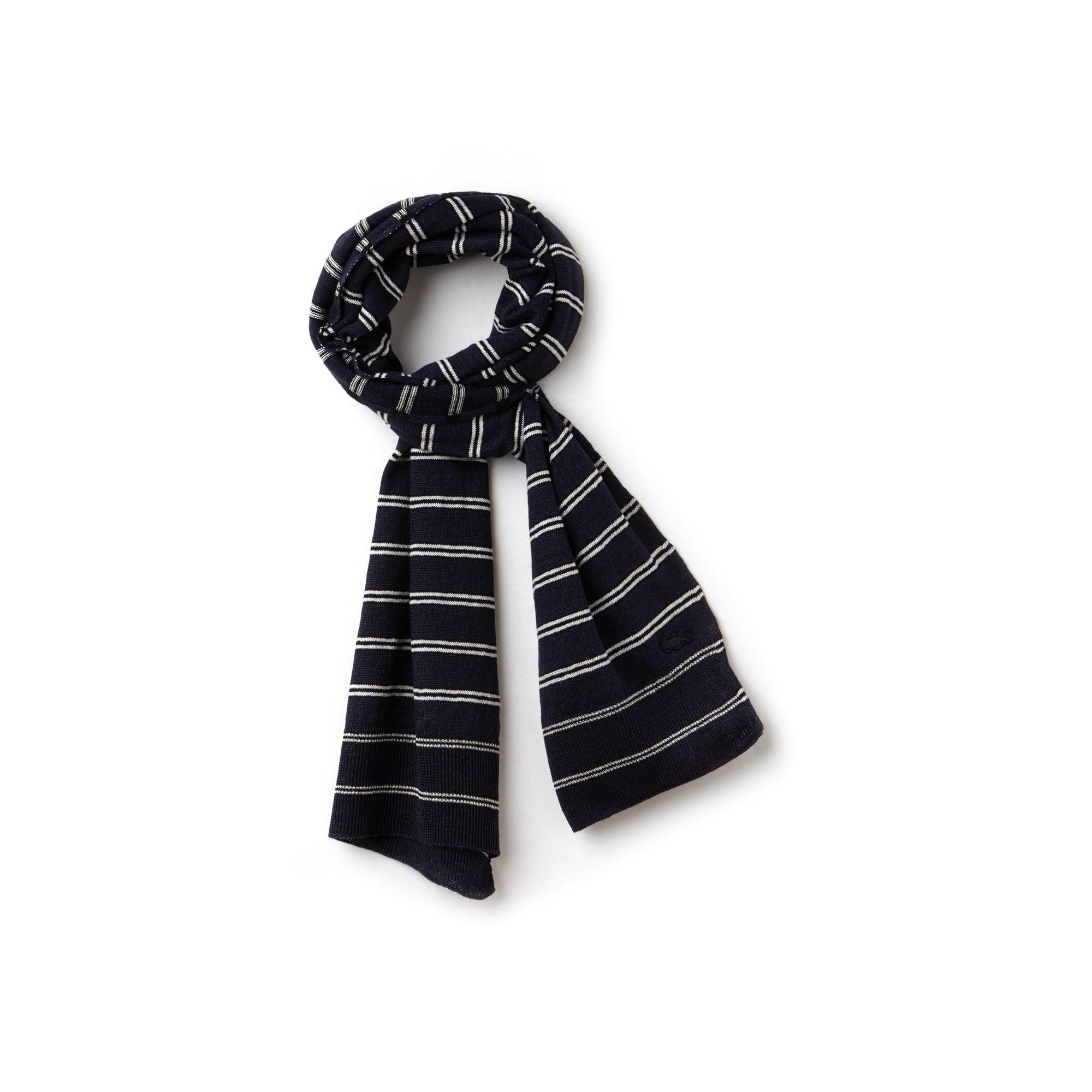 Bufanda de punto de algodón y lino a rayas