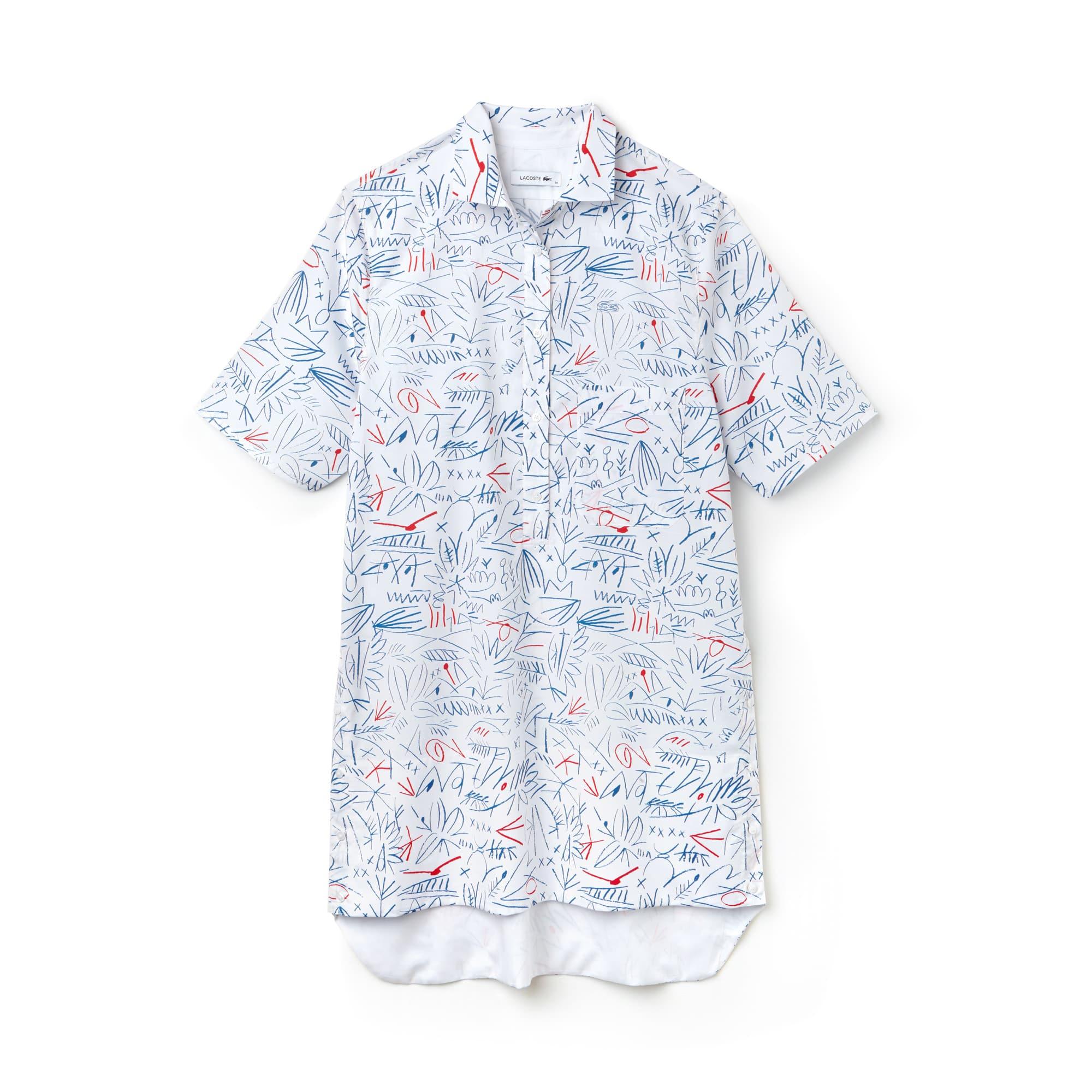 Vestido camisero de sarga de algodón estampado