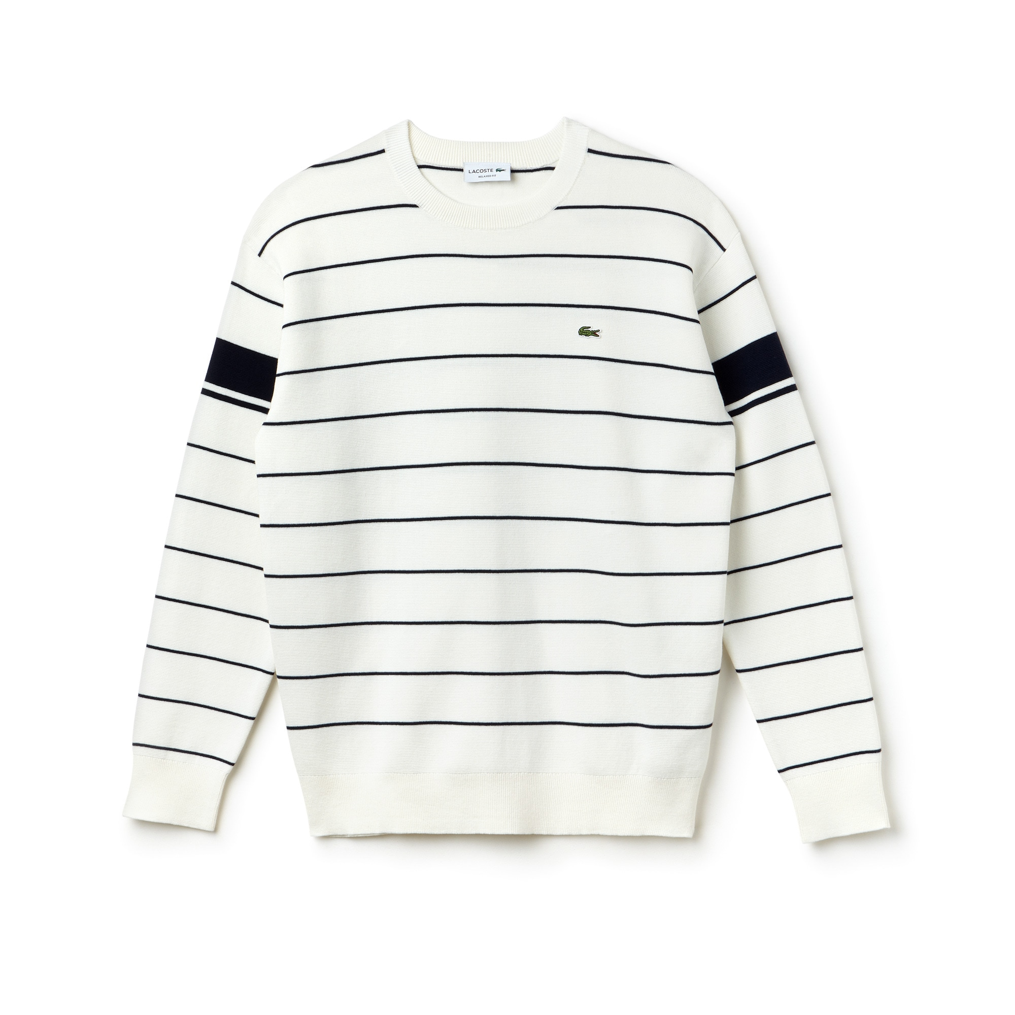 Jersey de cuello redondo de algodón milano de rayas con franjas contrastantes